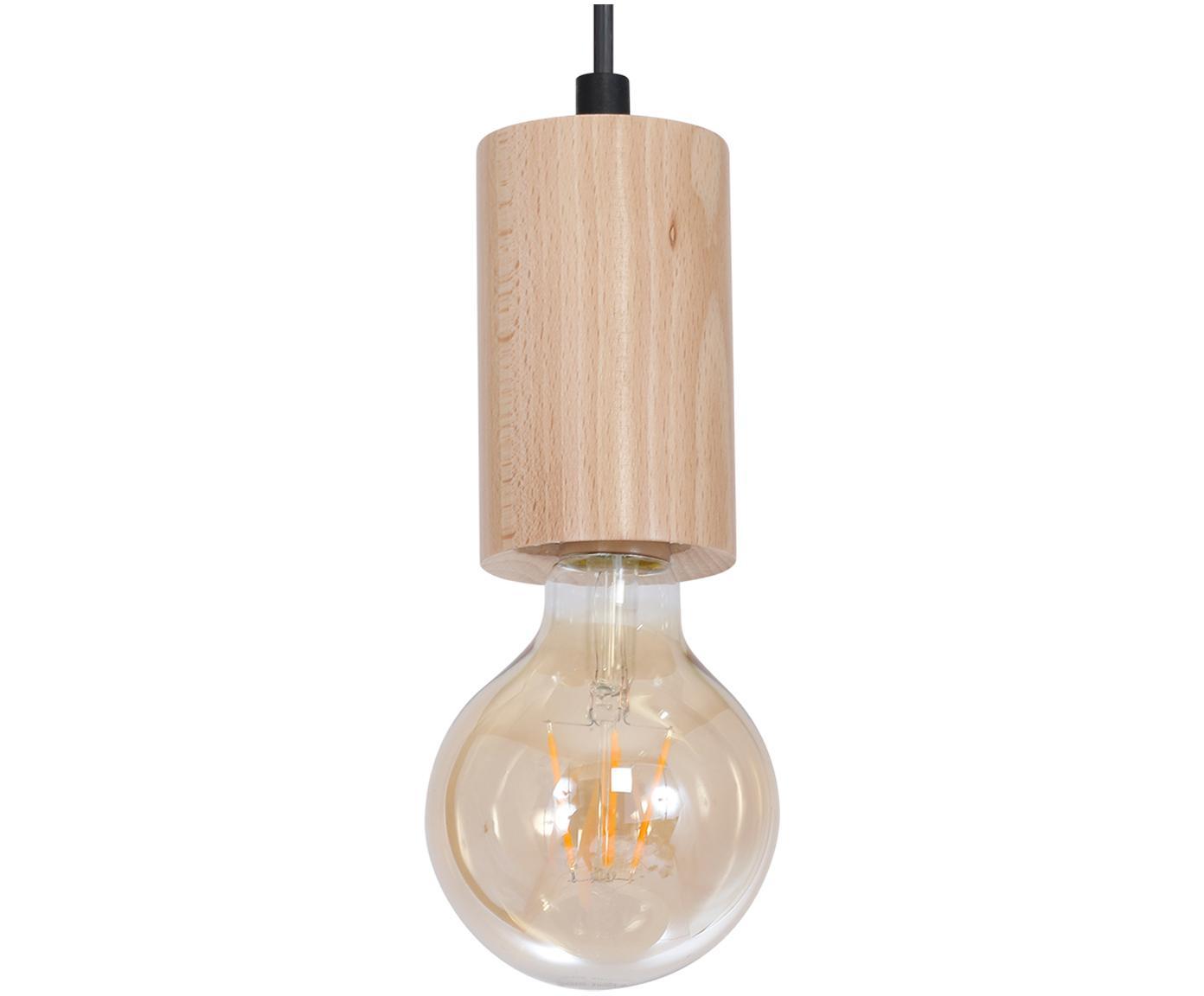Lampa wisząca z drewna Lines, Drewno naturalne, czarny, Ø 6 x 11 cm
