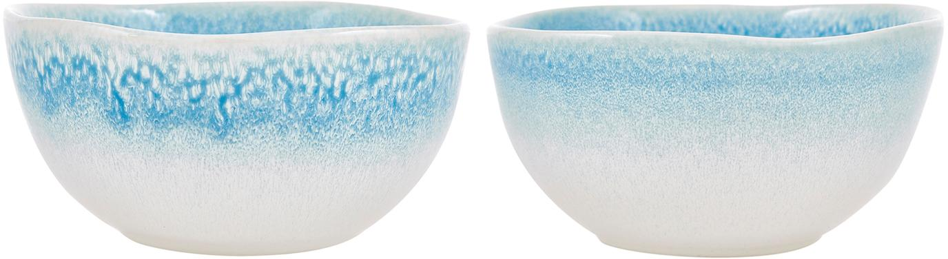 Handgemachte Schälchen Amalia mit effektvoller Glasur, 2 Stück, Porzellan, Hellblau, Cremeweiß, Ø 14 x H 7 cm