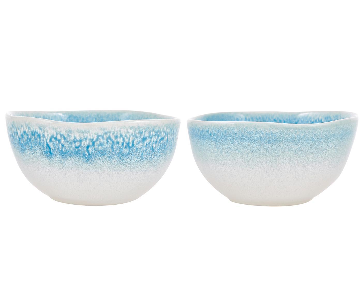Ręcznie wykonana miska Amalia, 2 szt., Ceramika, Jasny niebieski, kremowy, Ø 14 x W 7 cm