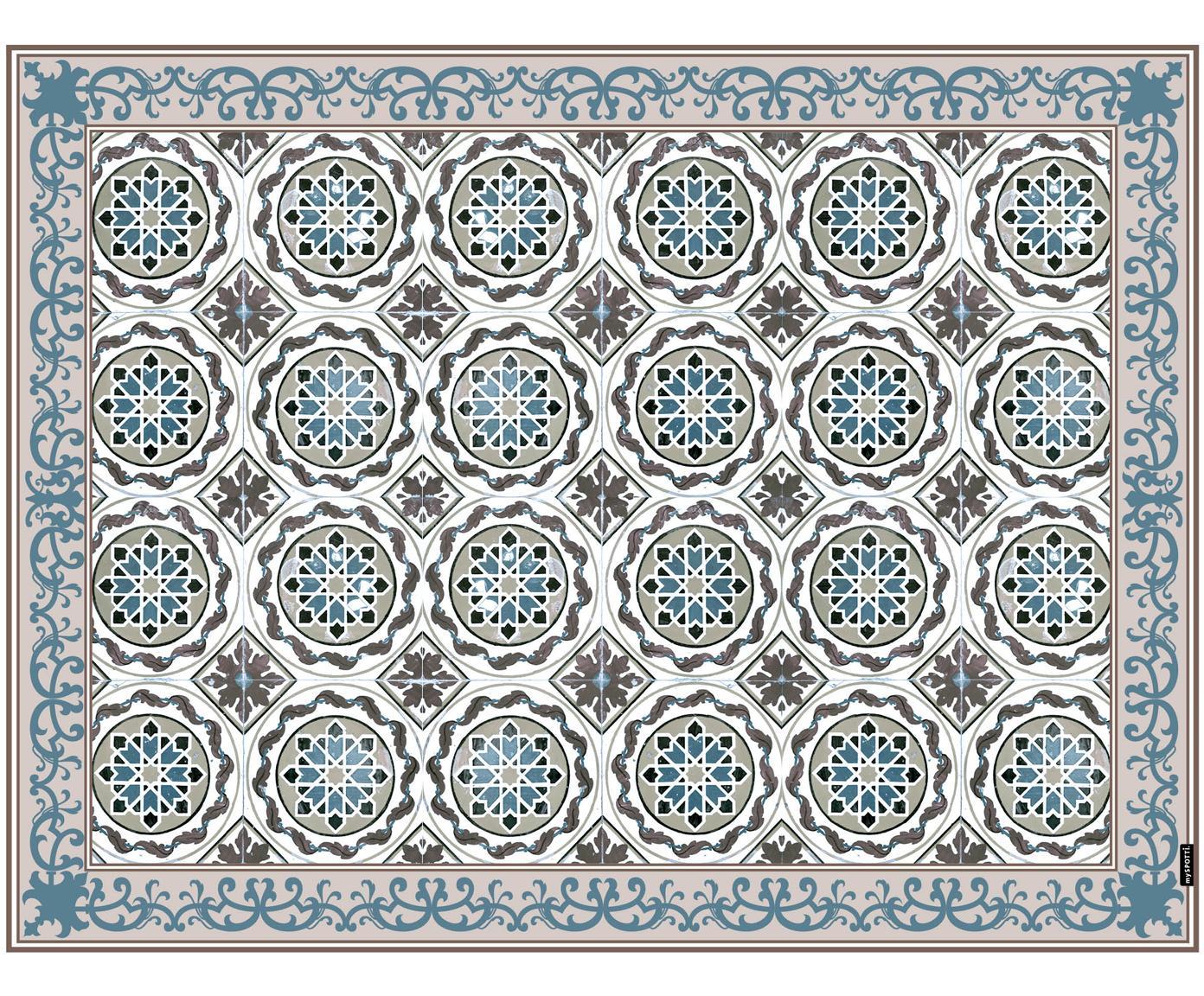 Vinyl vloermat Selina, Recyclebaar vinyl, Beige, bruin, blauw, 65 x 85 cm