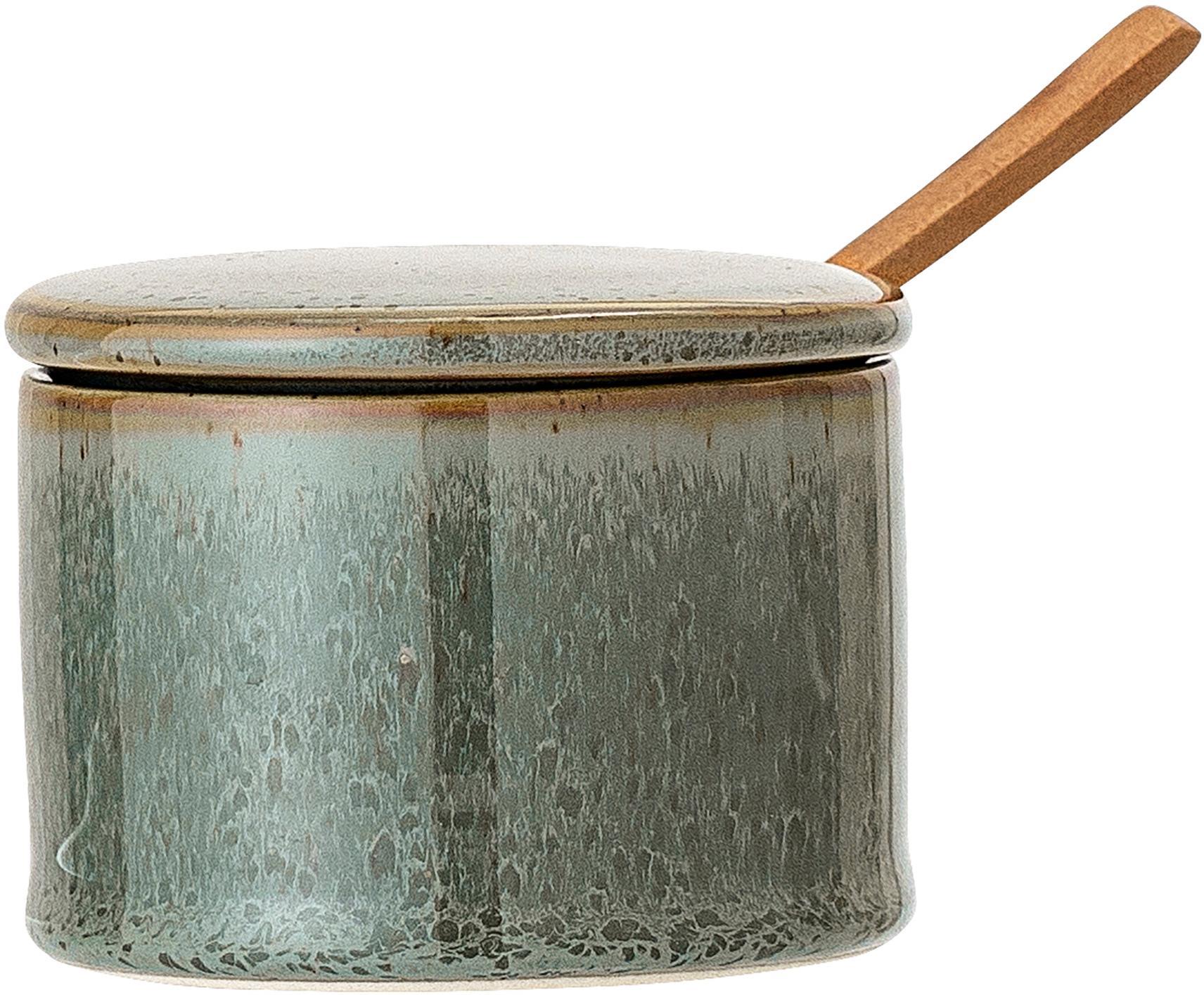 Set zuccheriera Pixie 2 pz, Contenitore: terracotta, Cucchiaio: legno d'acacia, Toni verdi, Ø 8 x A 6 cm