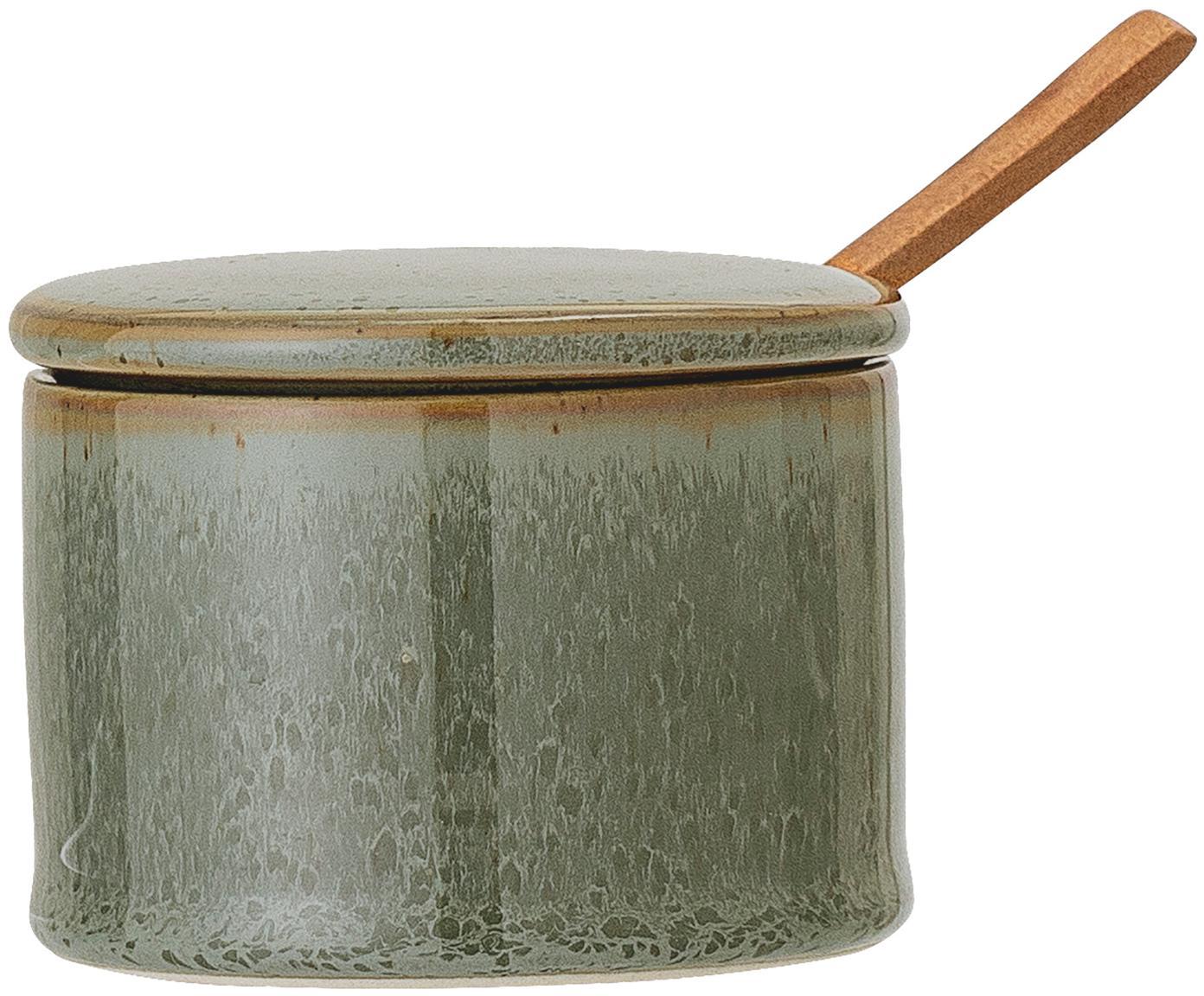 Set zuccheriera Pixie, 2 pz., Contenitore: terracotta, Cucchiaio: legno d'acacia, Toni verdi, Ø 8 x A 6 cm