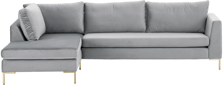 Samt-Ecksofa Luna, Bezug: Samt (Polyester) Der hoch, Gestell: Massives Buchenholz, Füße: Metall, galvanisiert, Samt Hellgrau, Gold, B 280 x T 184 cm