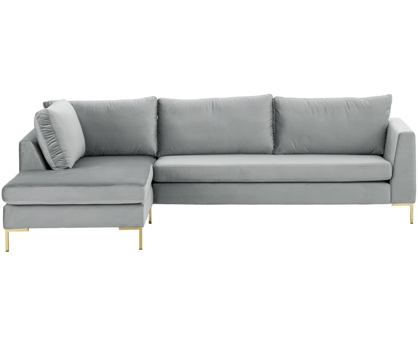 Fluwelen hoekbank Luna, Bekleding: fluweel (polyester), Frame: massief beukenhout, Poten: gegalvaniseerd metaal, Fluweel beigegrijs, goudkleurig, B 280 x D 184 cm