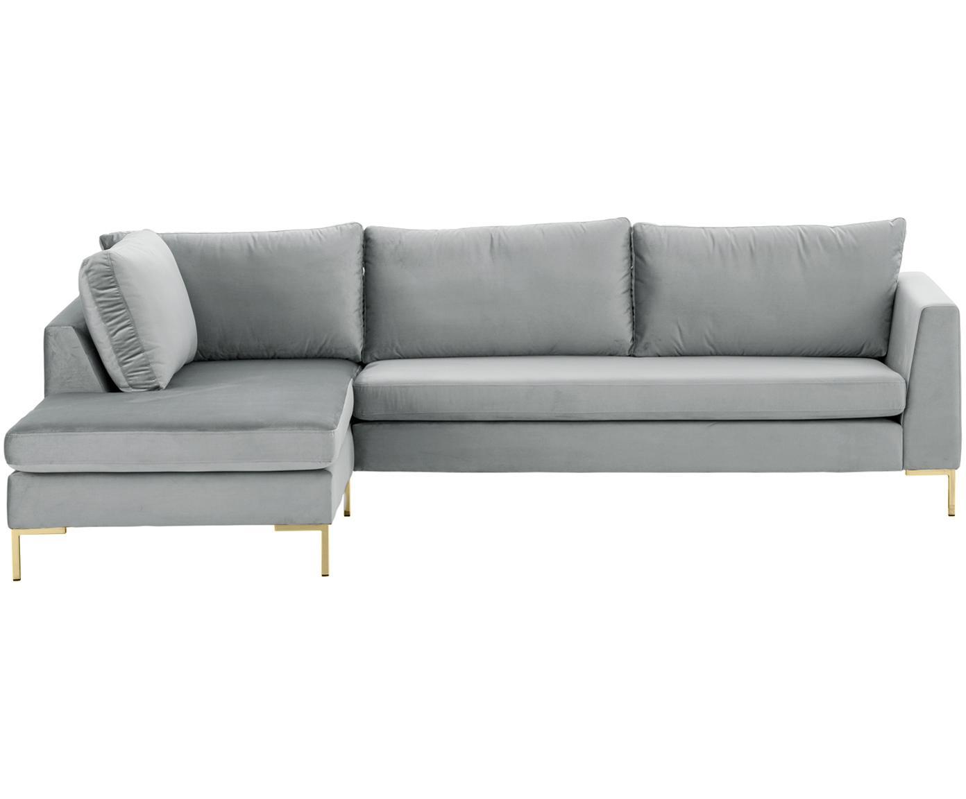 Samt-Ecksofa Luna, Bezug: Samt (Polyester) 80.000 S, Gestell: Massives Buchenholz, Samt Hellgrau, Gold, B 280 x T 184 cm