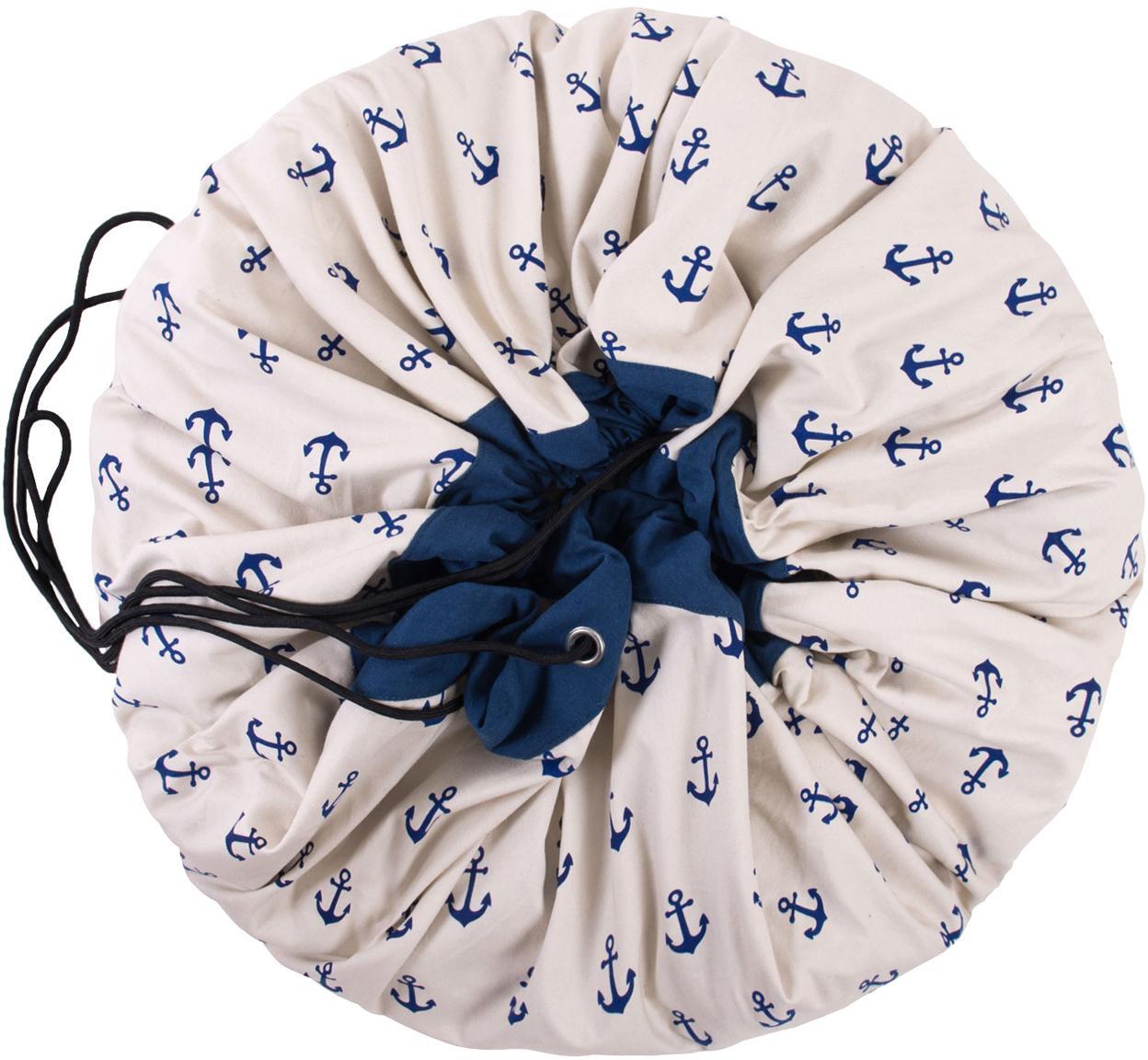 Koc do zabawy Anchors, Poliester, Biały, niebieski, Ø 140 cm