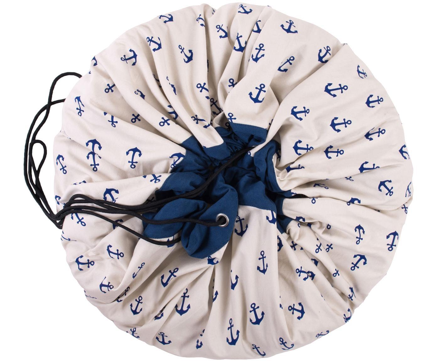 Spieldecke Anchors, Polyester, Weiß, Blau, Ø 140 cm