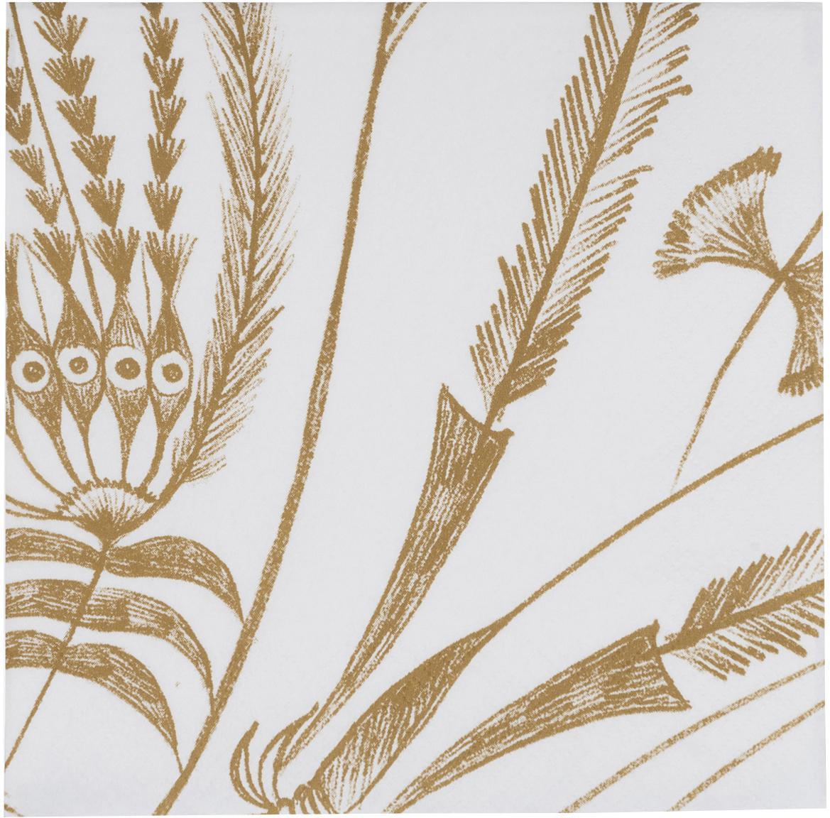 Papieren servetten Bukit Jambul, 12 stuks, Papier, Wit, bruin, 33 x 33 cm