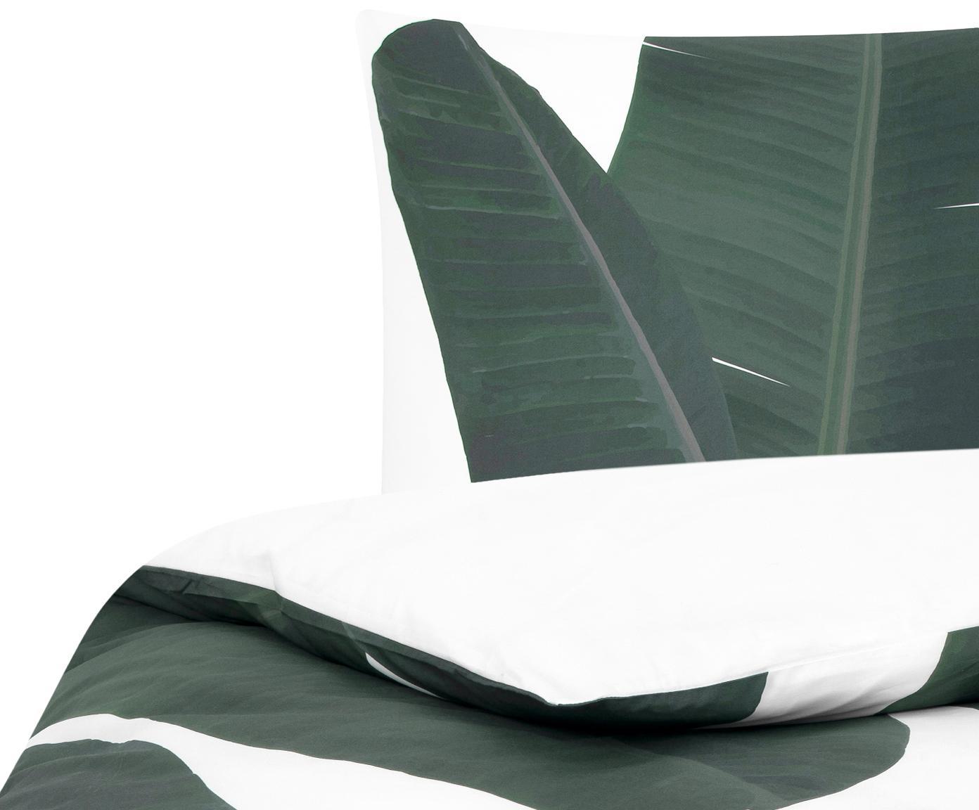 Baumwollperkal-Bettwäsche Banana mit Blattmotiv, Webart: Perkal Fadendichte 180 TC, Vorderseite: GrüntöneRückseite: Weiß, Uni, 155 x 220 cm + 1 Kissen 80 x 80 cm