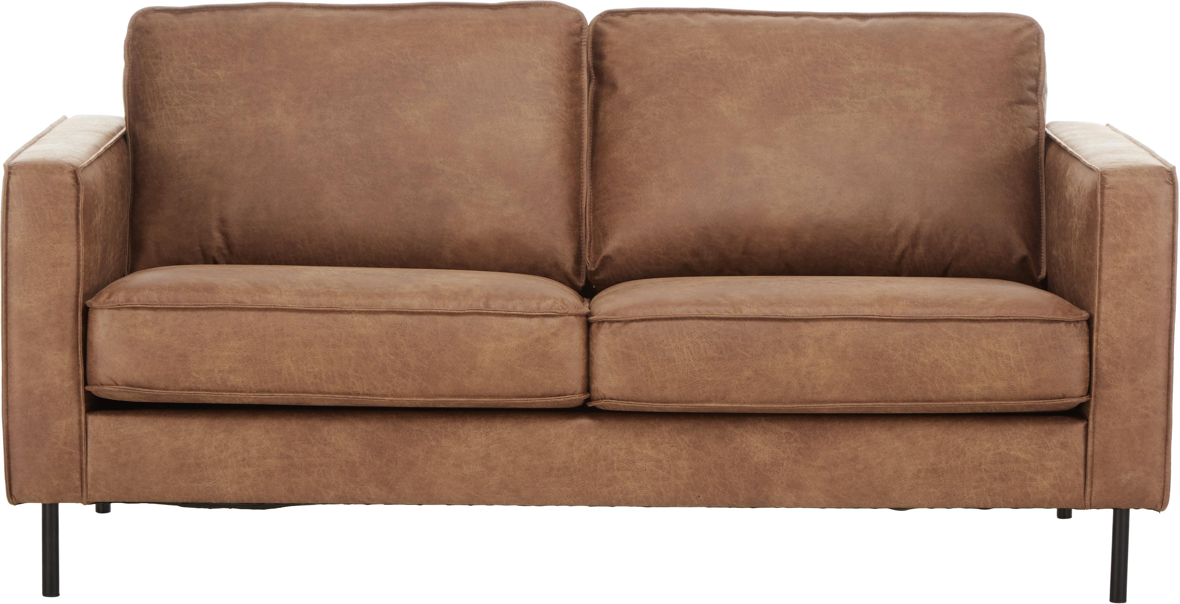 Leder-Sofa Hunter (2-Sitzer), Bezug: 70% recyceltes Leder, 30%, Gestell: Massives Birkenholz und h, Füße: Metall, pulverbeschichtet, Leder Braun, B 164 cm x T 90 cm