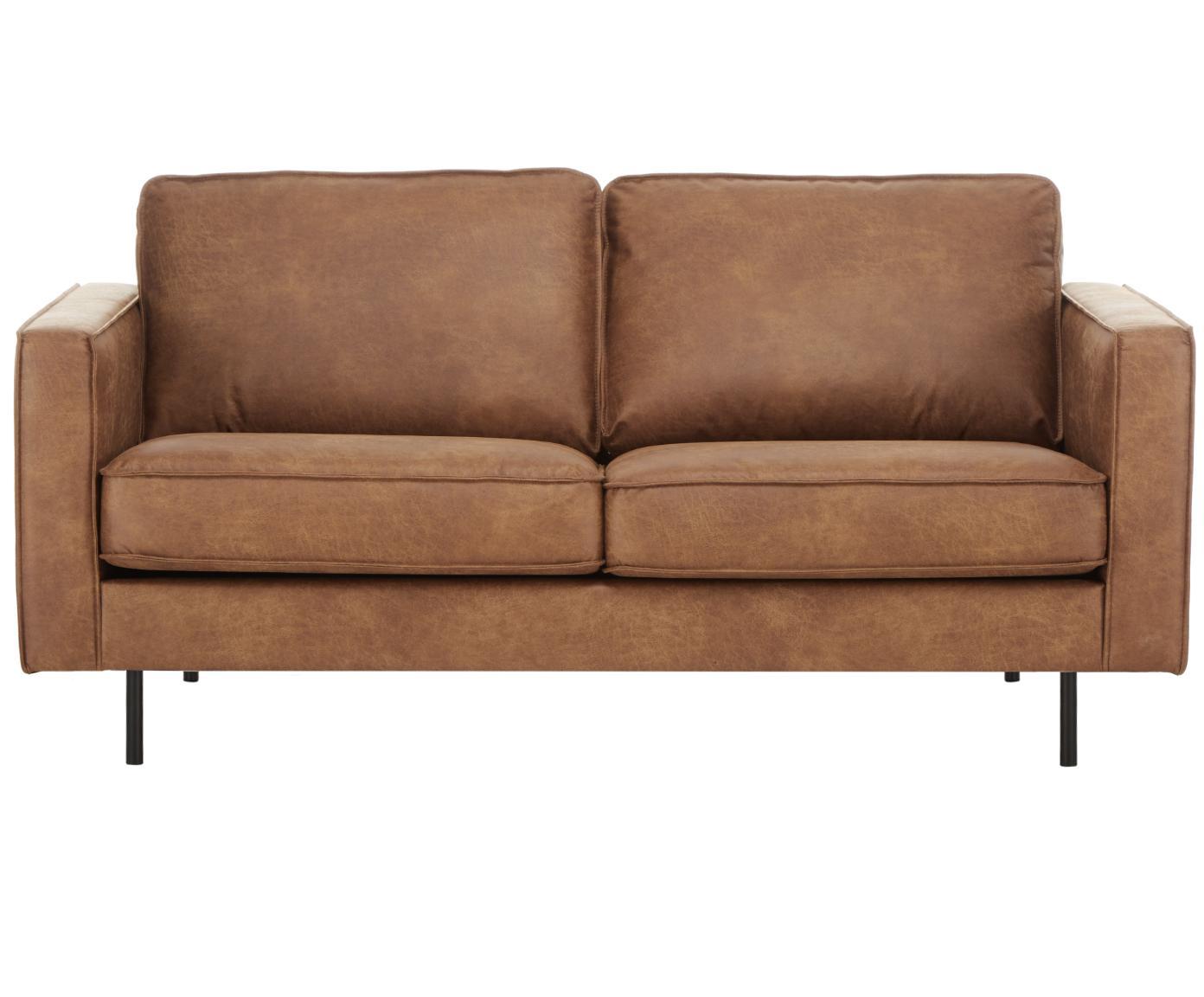 Leder-Sofa Hunter (2-Sitzer), Bezug: 70% recyceltes Leder, 30%, Gestell: Massives Birkenholz und h, Leder Braun, B 164 cm x T 90 cm