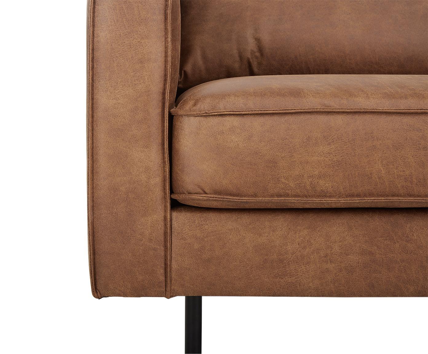Sofa Hunter (2-osobowa), Tapicerka: 70% skóra pochodząca z re, Stelaż: lite drewno brzozowe i dr, Nogi: metal malowany proszkowo, Brązowa skóra, S 164 x G 90 cm