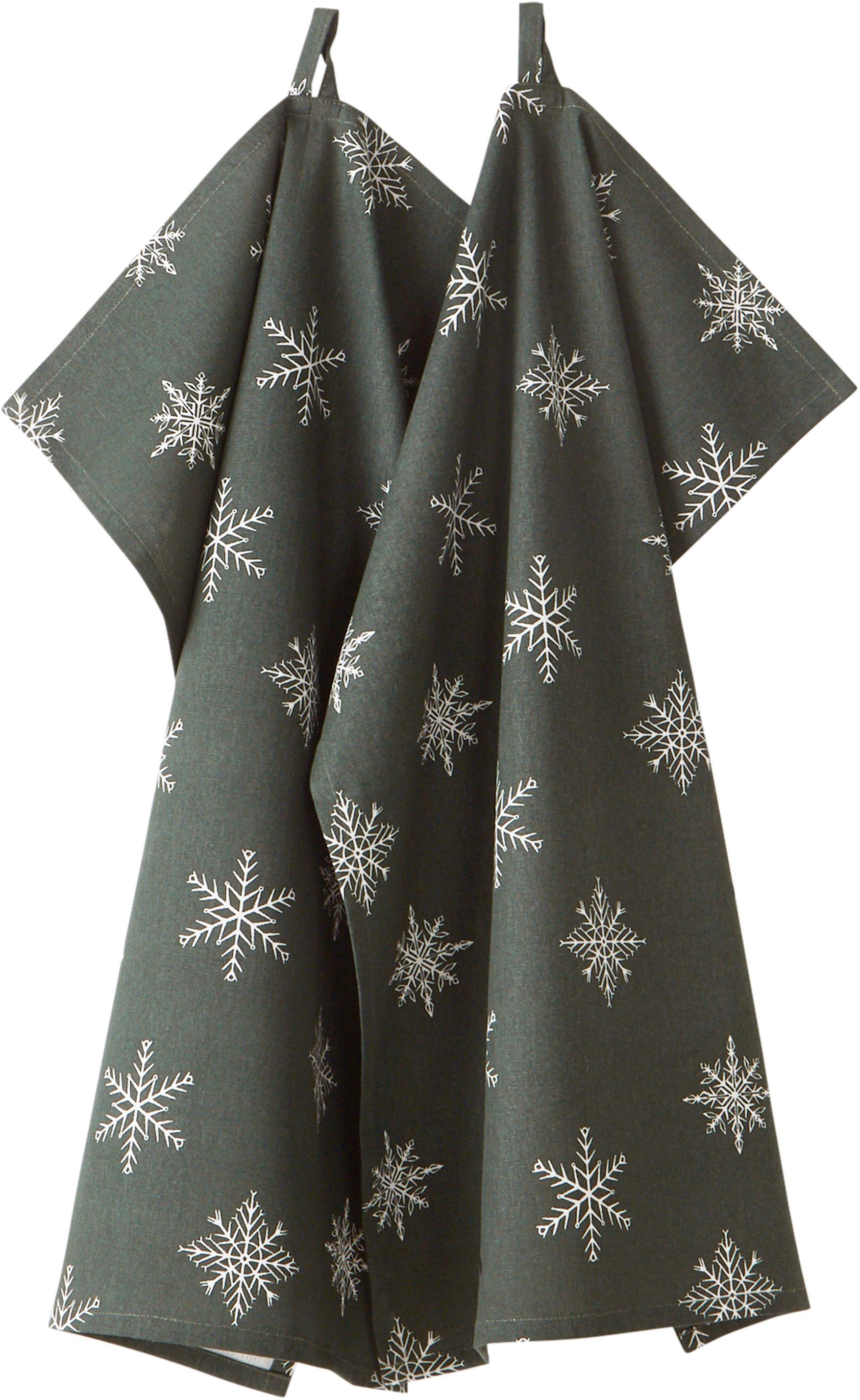 Strofinaccio in cotone Snow 2 pz, 100% cotone, da coltivazione sostenibile del cotone, Verde, bianco, Larg. 50 x Lung. 70 cm