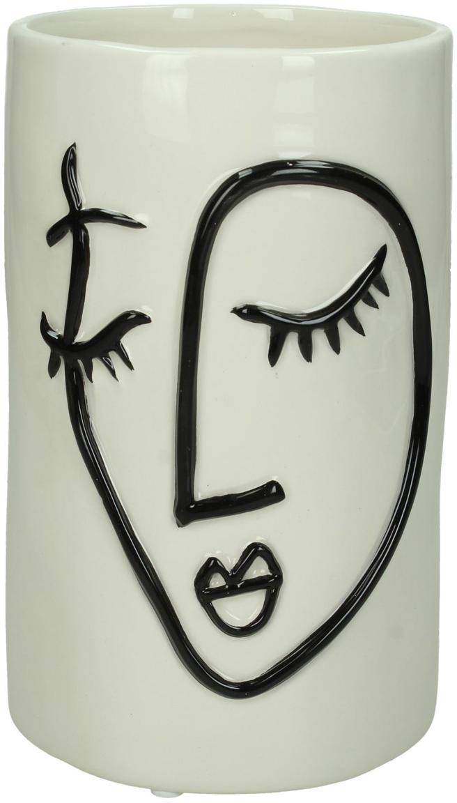 Kleiner Pflanztopf Face aus Steingut, Steingut, Gebrochenes Weiß, Schwarz, Ø 11 x H 18 cm