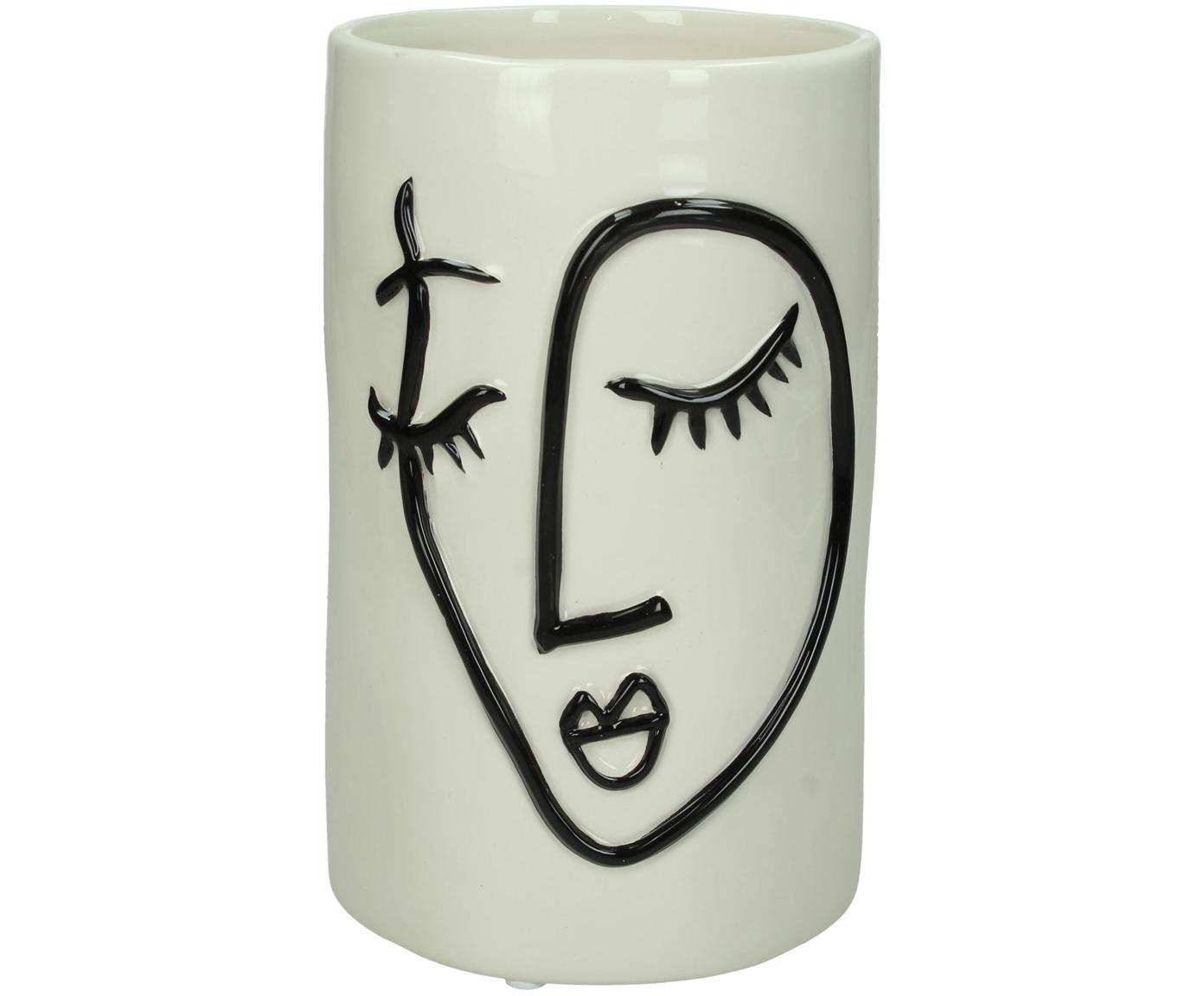 Übertopf Face, Steingut, Gebrochenes Weiß, Schwarz, Ø 11 x H 18 cm