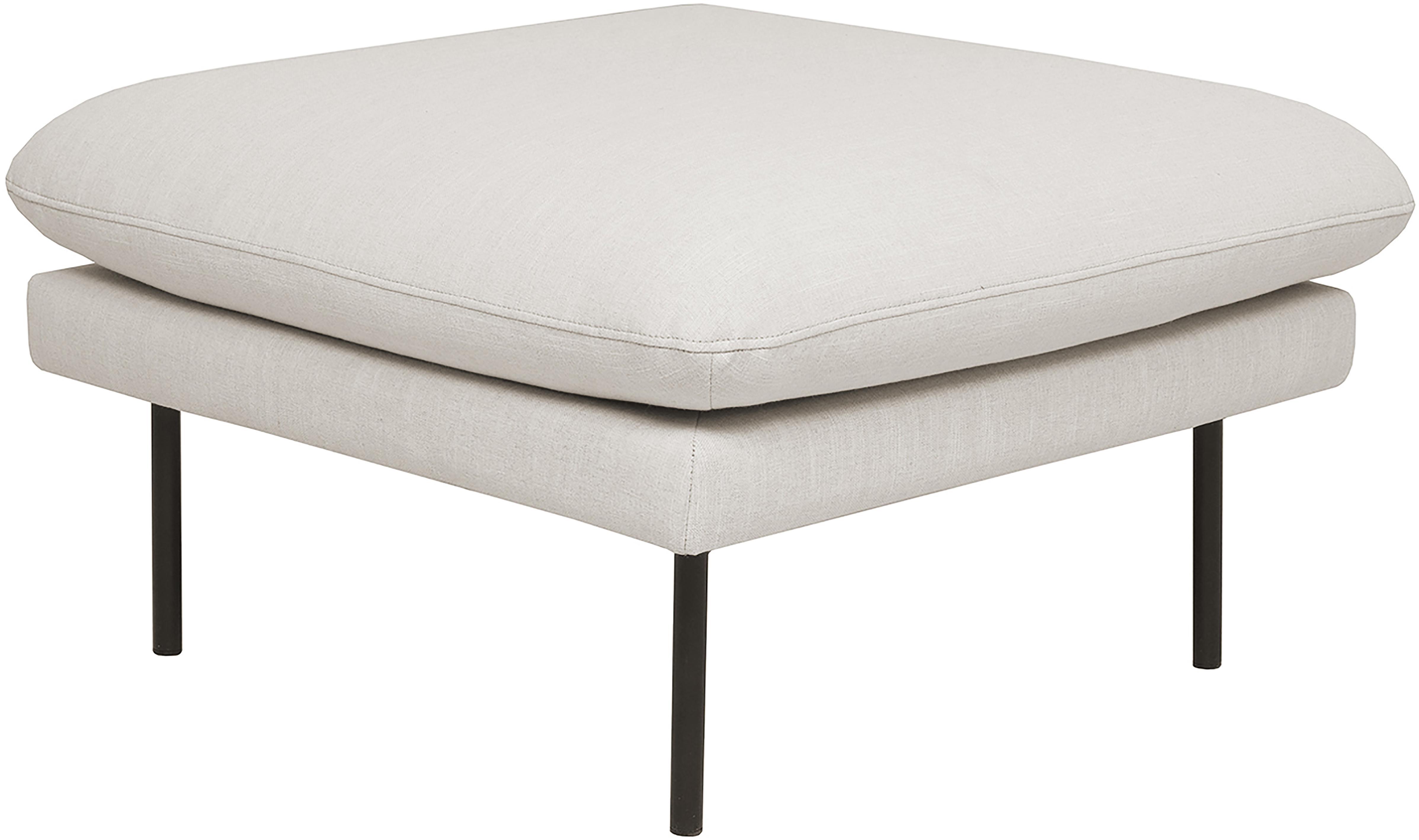 Sofa-Hocker Moby, Bezug: Polyester Der hochwertige, Gestell: Massives Kiefernholz, Füße: Metall, pulverbeschichtet, Webstoff Beige, 78 x 48 cm
