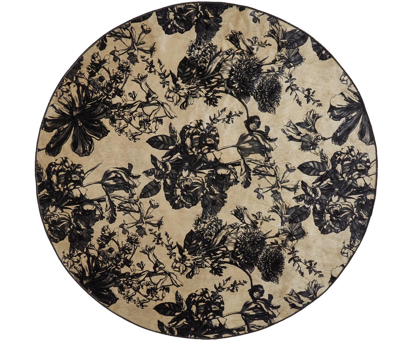 Runder Teppich Vivienne in Creme/Schwarz mit Blumenmuster, 60% Polyester, 30% thermoplastisches Polyurethan, 10% Baumwolle, Creme, Schwarz, Grau, Ø 180 cm (Größe L)