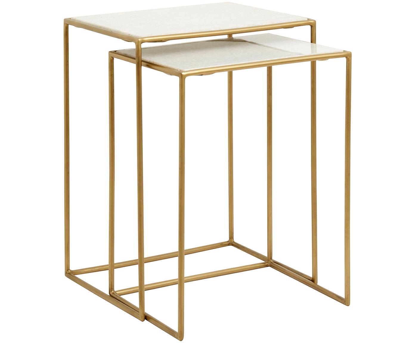 Set 2 tavolini con piano in marmo Zoe, Ripiani: marmo, Struttura: metallo verniciato, Bianco, Diverse dimensioni