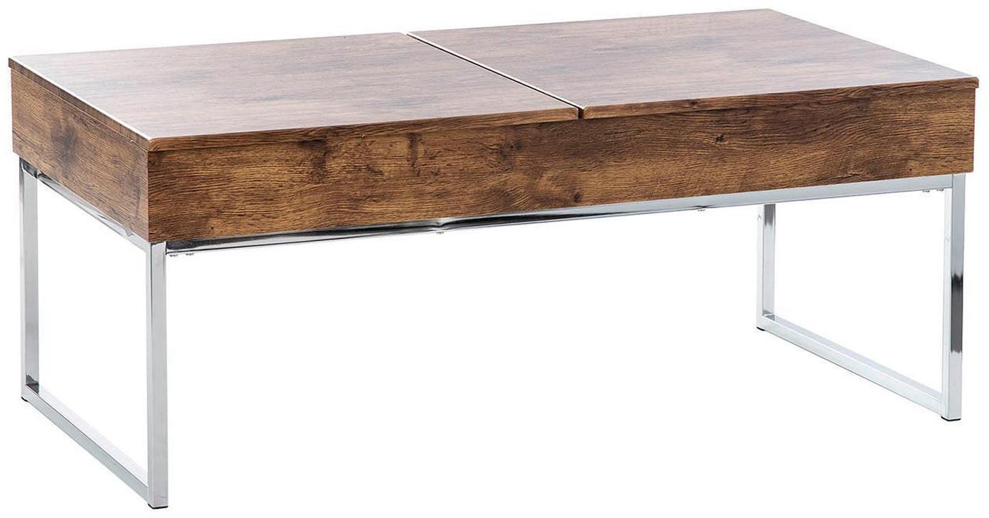 Mesa de centro Manuela, Patas: acero inoxidable, Marrón, Plateado, An 110 x Al 45 cm