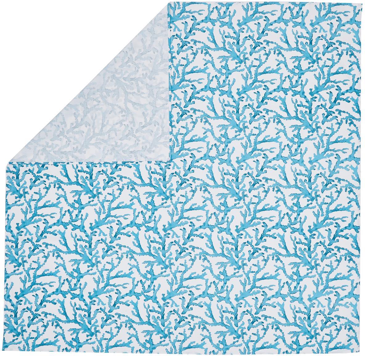 Tovaglia con stampa corallo Estran, Cotone, Blu, bianco, Per 4-6 persone (Larg. 160 x Lung. 160 cm)