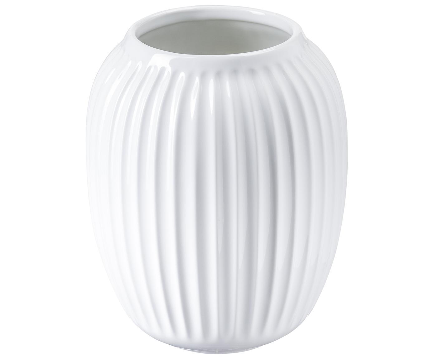 Jarrón artesanal de diseño Hammershøi, Porcelana, Blanco, Ø 17 x Al 20 cm