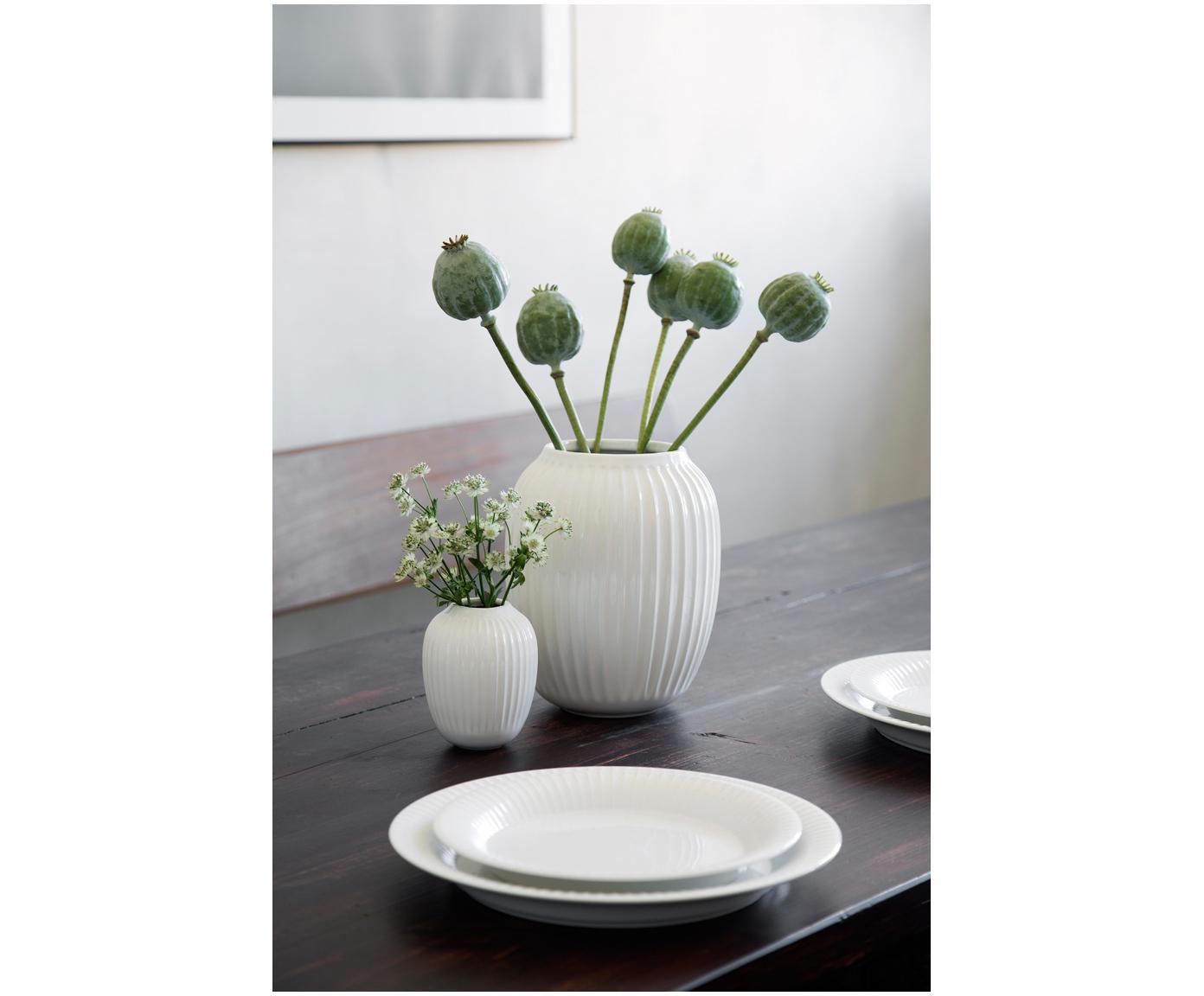 Handgefertigte Design-Vase Hammershøi, Porzellan, Weiß, Ø 17 x H 20 cm