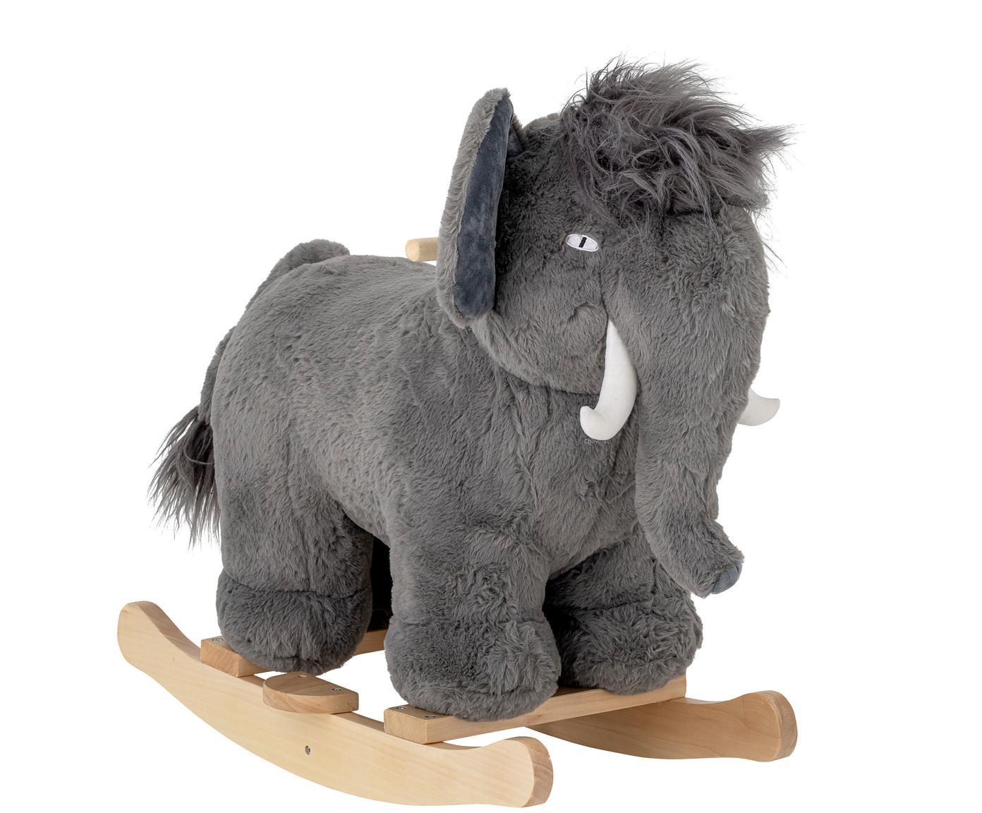 Schaukeltier Mammoth, Pappelholz, Polyester, Grau, 34 x 64 cm
