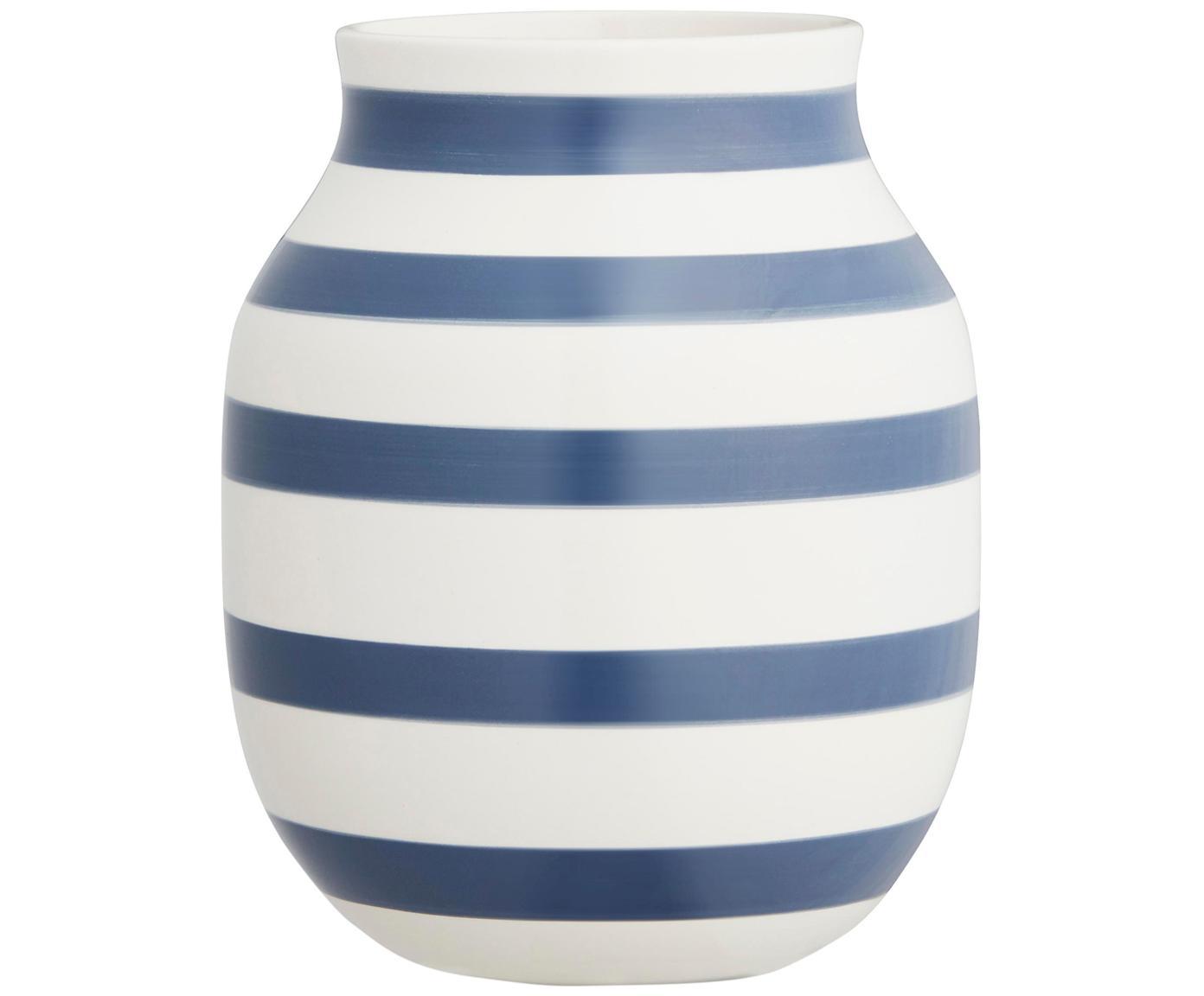 Vaso di design fatto a mano Omaggio, Ceramica, Bianco, blu acciaio, Ø 17 x Alt. 20 cm