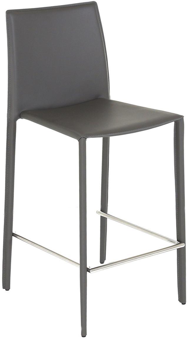 Leren barstoelen Boréalys, 2stuks, Zitvlak: gerecycled leer, Frame: gepoedercoat metaal, Grijs, 44 x 98 cm