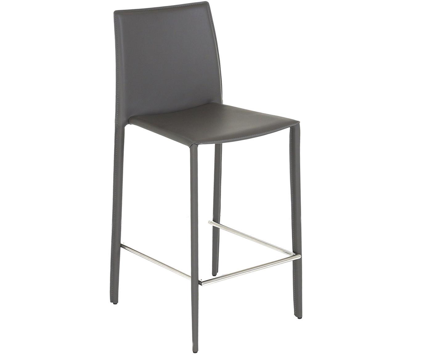 Leder-Thekenstühle Boréalys, 2Stück, Sitzfläche: Recyceltes Leder, Gestell: Metall, pulverbeschichtet, Grau, 44 x 98 cm