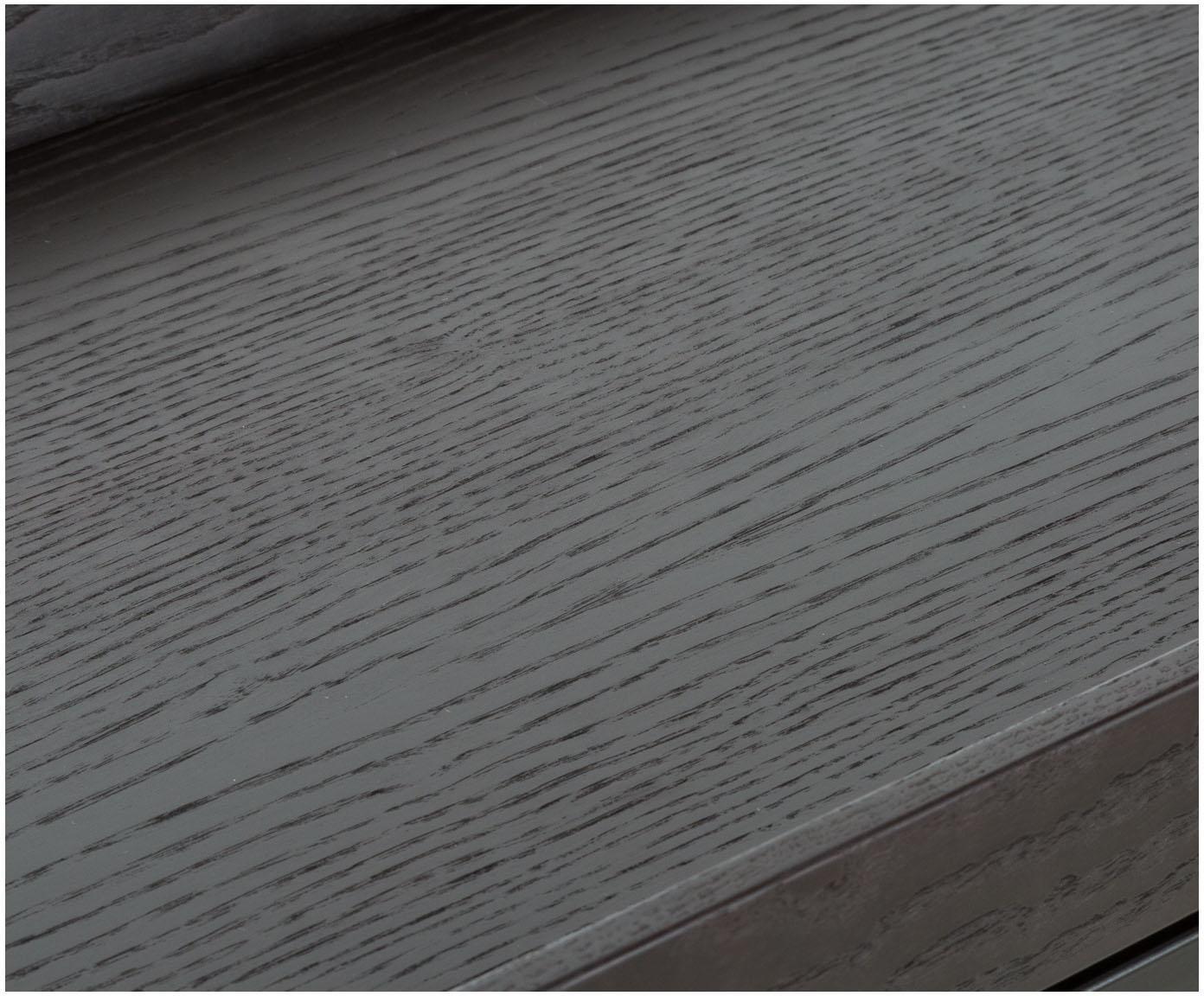 Design sidetable Pizzo in zwart, Frame: gepoedercoat staal, Tafelblad: wengékleurig gebeitst eik, Zwart, B 100 x D 34 cm