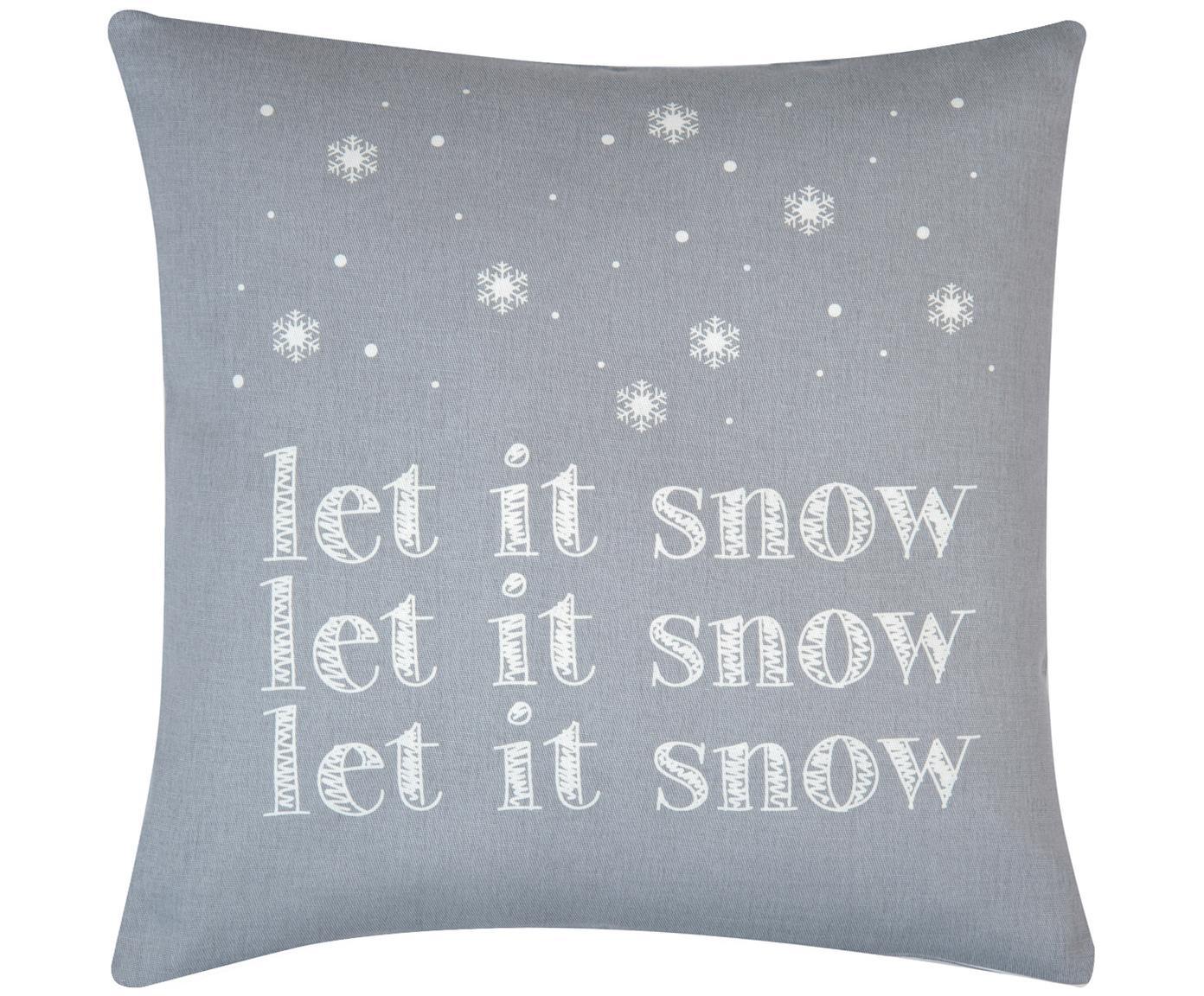 Kissenhülle Snow in Grau/Weiss mit Schriftzug, Baumwolle, Panamabindung, Grau,Ecru, 40 x 40 cm
