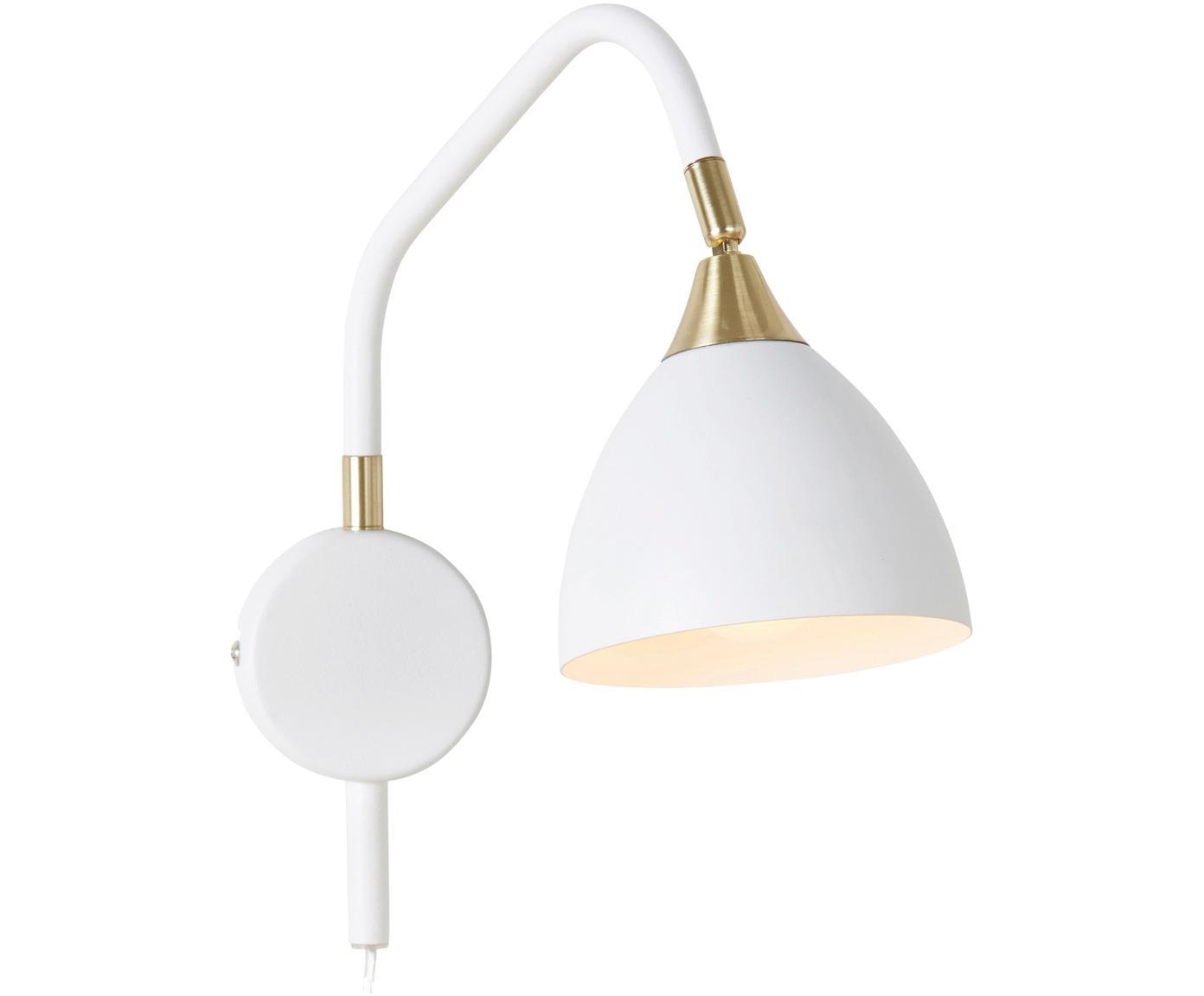 Wandlamp Luis met stekker, Wit, messingkleurig, 12 x 29 cm