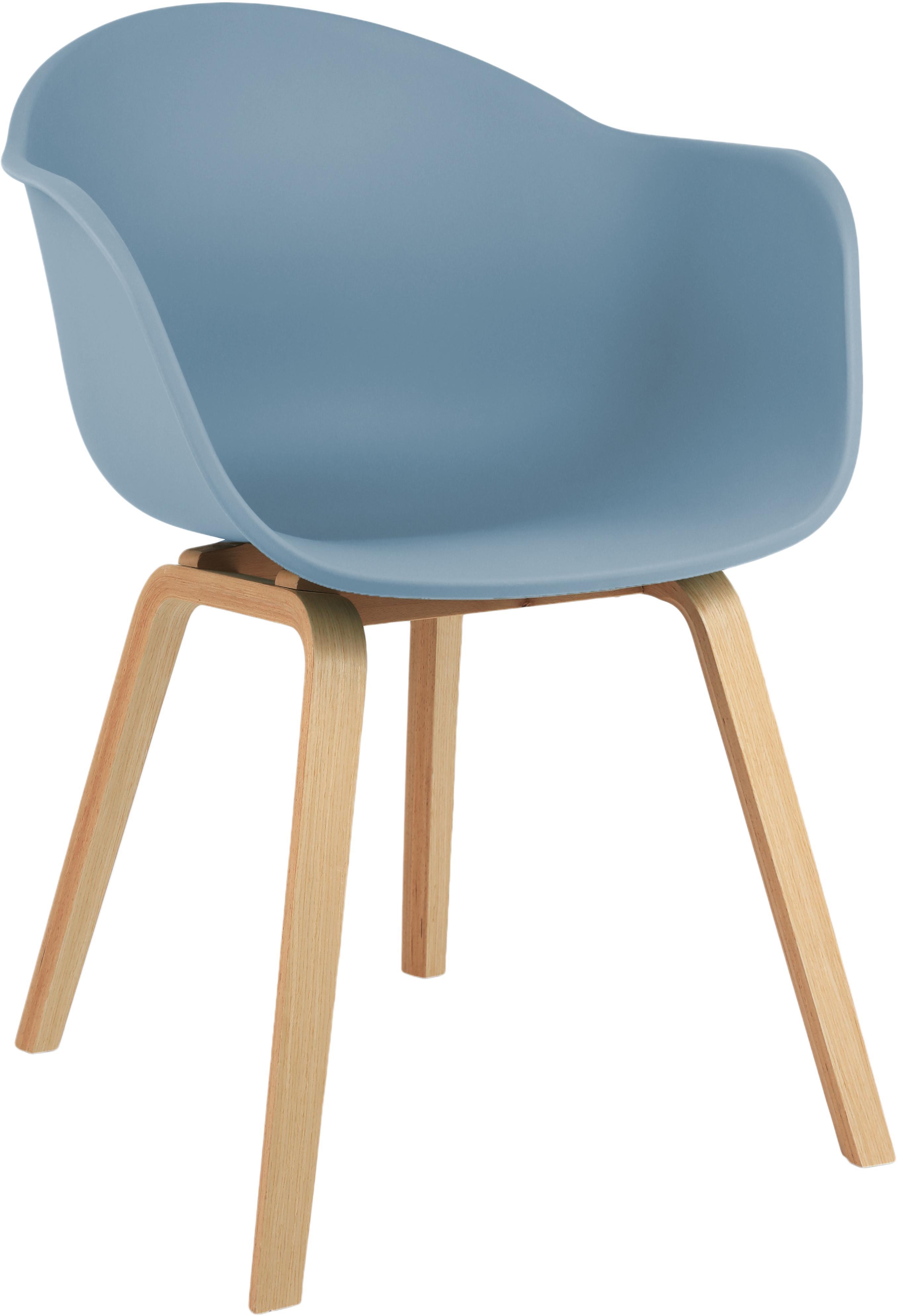 Silla con reposabrazos Claire, Asiento: plástico, Patas: madera de haya, Asiento: azul Patas: madera de haya, An 61 x F 58 cm