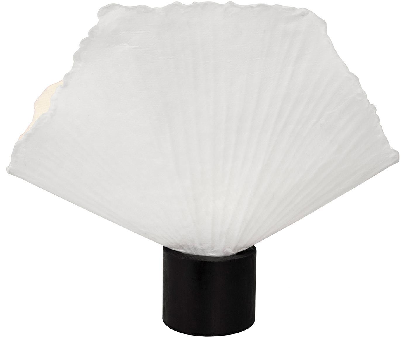 Tafellamp Tropez, Papier, gecoat hout, Wit, zwart, 43 x 35 cm