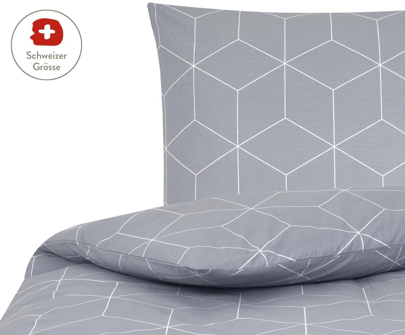 Baumwoll-Bettdeckenbezug Lynn mit grafischem Muster, Webart: Renforcé Fadendichte 144 , Grau, Cremeweiss, 160 x 210 cm