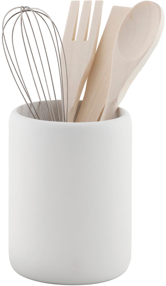 Set utensili da cucina Botta 5 pz, Poliresina, legno, Bianco, legno, Ø 11 x Alt. 23 cm