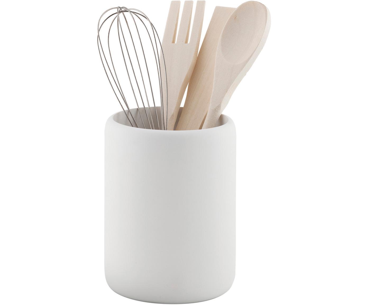 Set de utensilios de cocina Botta, 5pzas., Recipiente: poliresina, Blanco, madera, Ø 11 x Al 23 cm