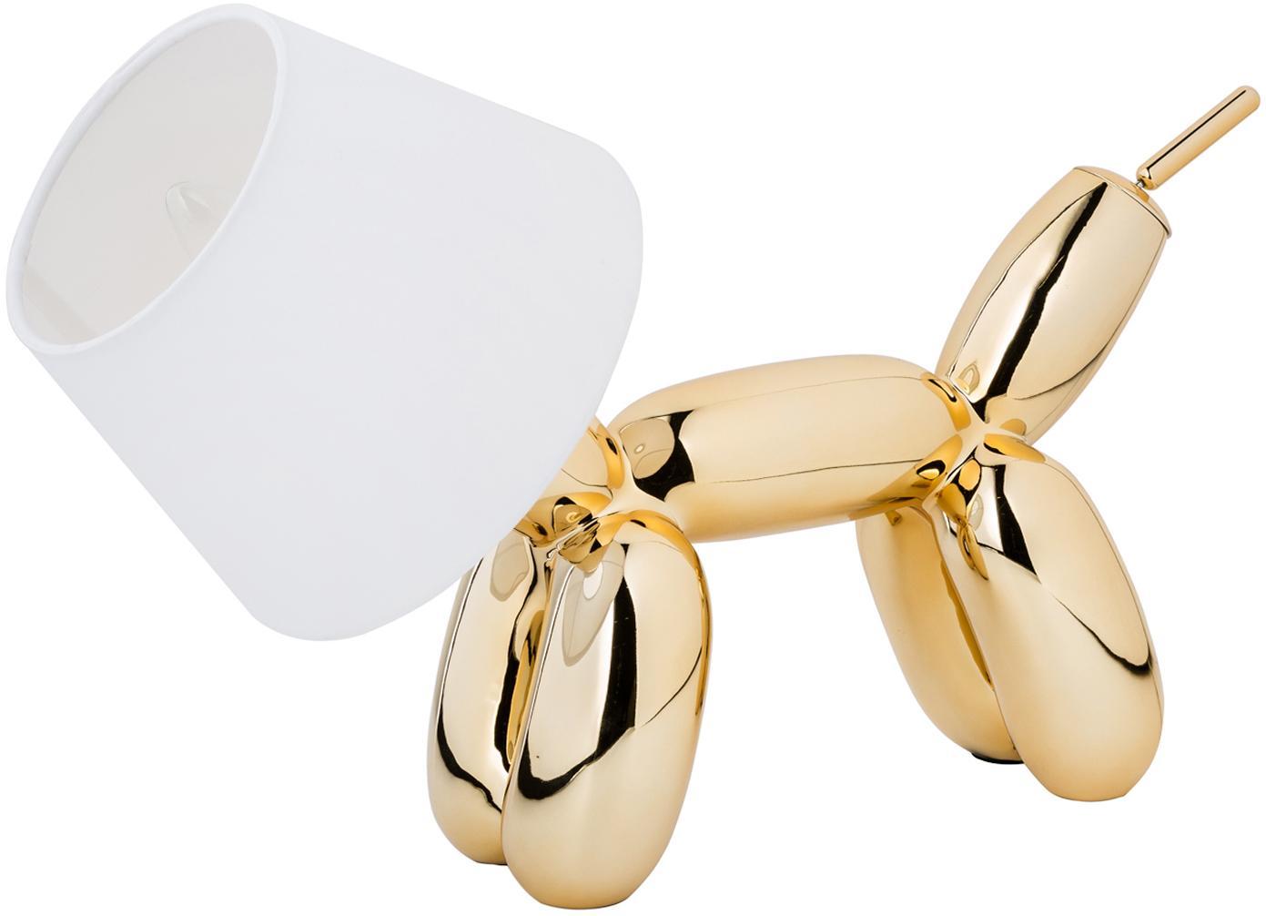 Design-Tischlampe Doggy, Lampenfuß: Kunstharz, Goldfarben, Weiß, 40 x 30 cm