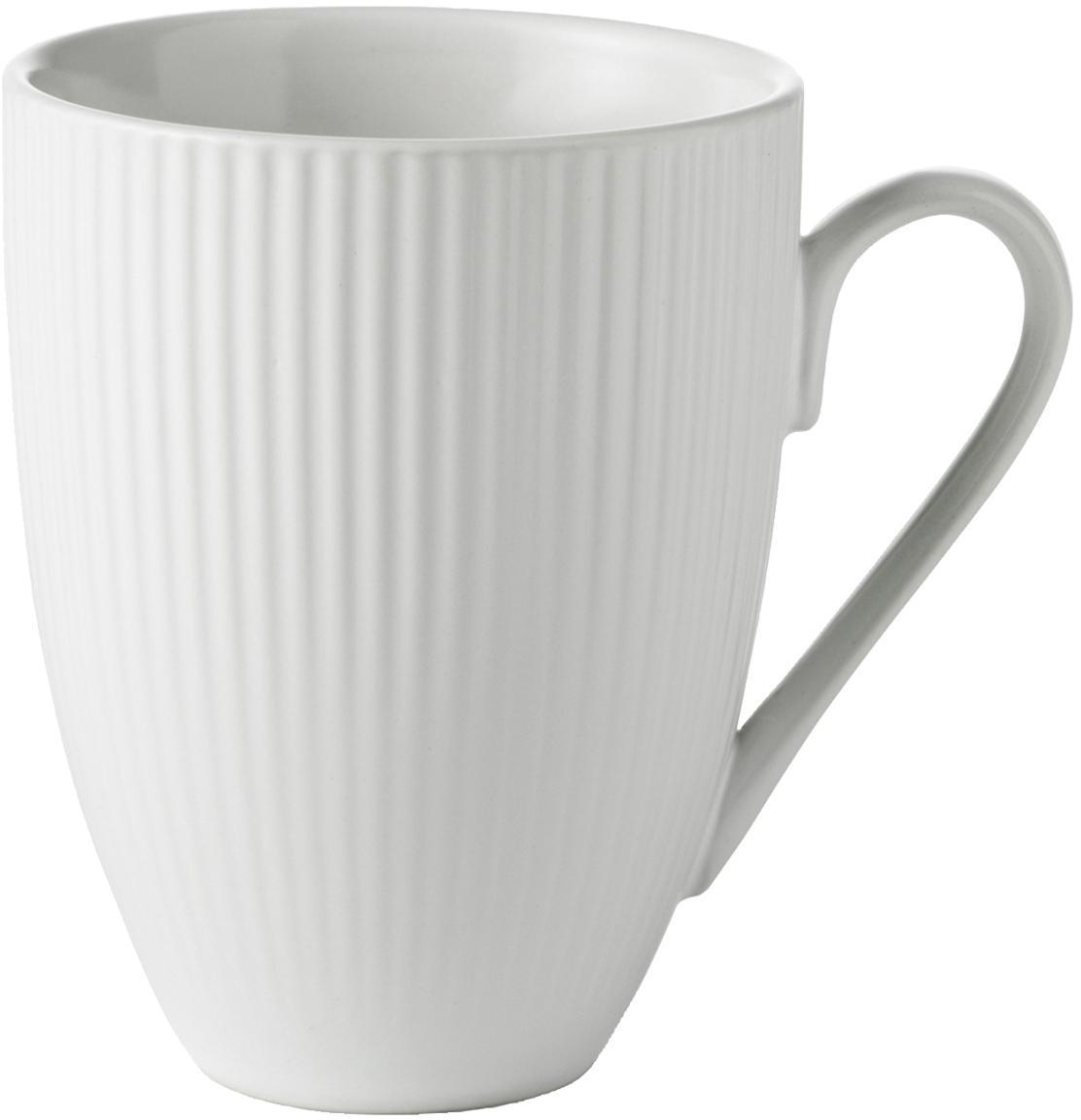 Tazza con struttura rigata Groove 4 pz, Terracotta, Bianco, Ø 9 x Alt. 11 cm