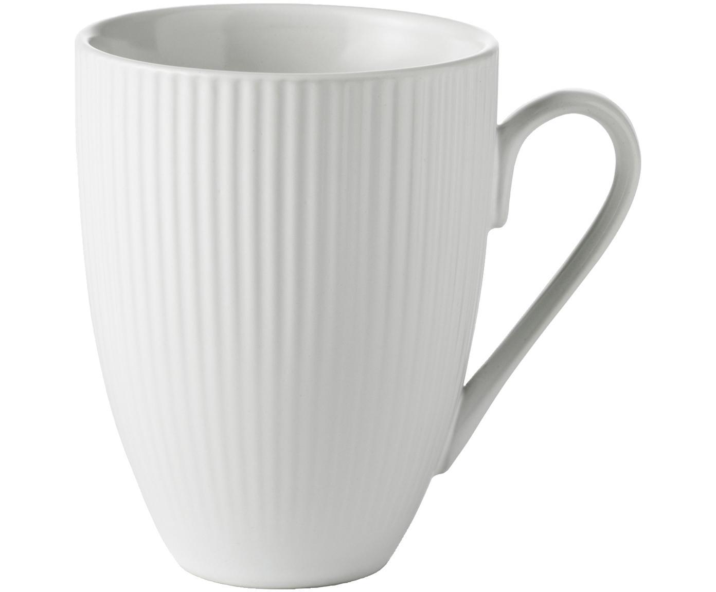 Weisse Kaffeetassen Groove mit Rillenstruktur, 4 Stück, Steingut, Weiss, Ø 9 x H 11 cm