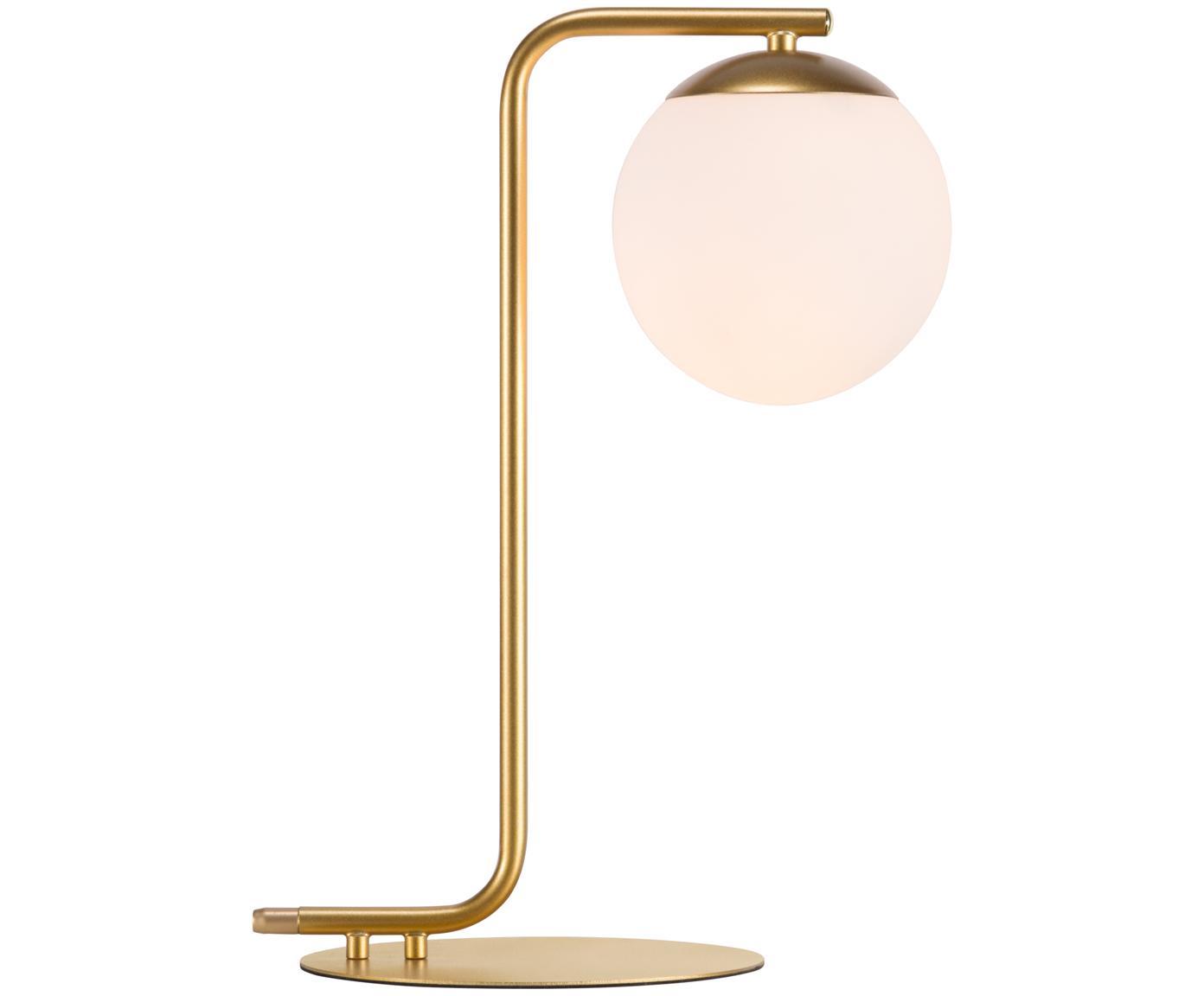 Tischleuchte Grant, Messing, Lampenfuß: Messing, Lampenschirm: Opalglas, Messing, Weiß, 20 x 41 cm