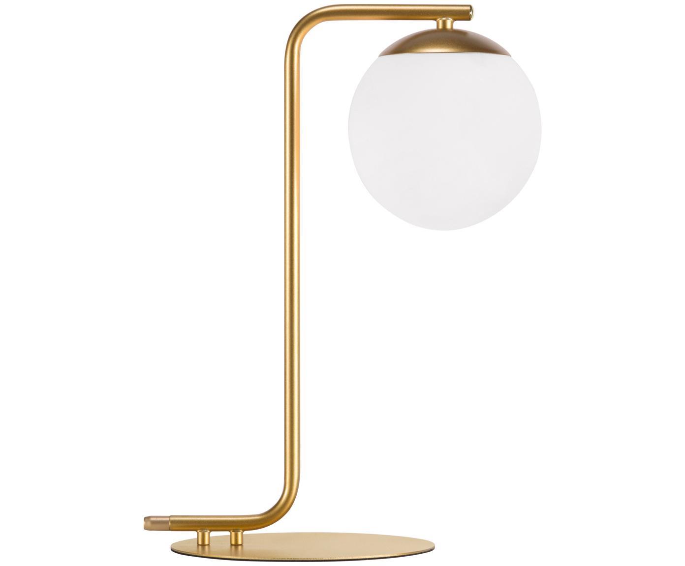 Tafellamp Grant van messing, Lampvoet: messing, Lampenkap: opaalglas, Messingkleurig, wit, 20 x 41 cm