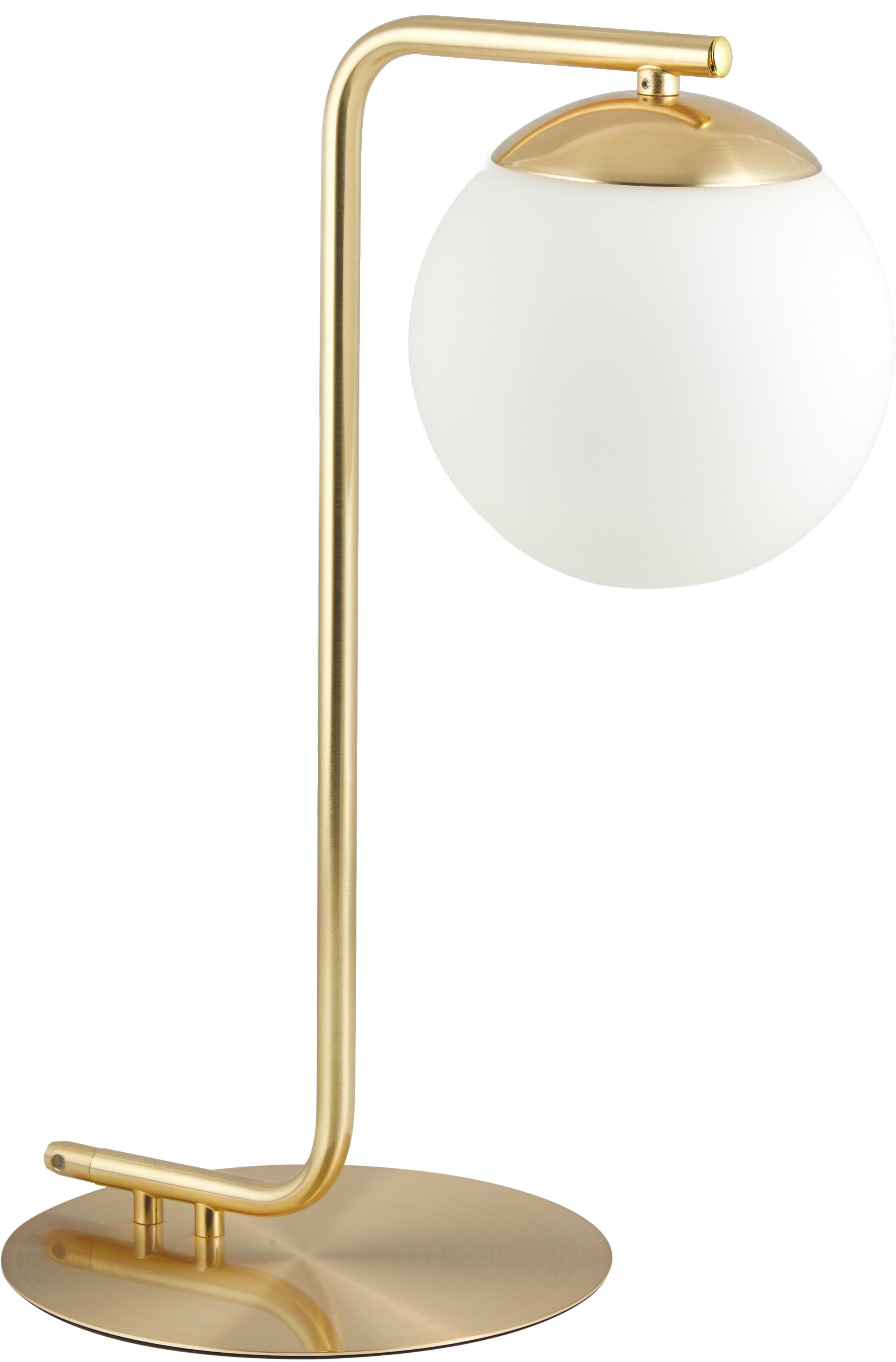 Tischlampe Grant mit Messingfuss, Lampenschirm: Opalglas, Messing, Weiss, 20 x 41 cm