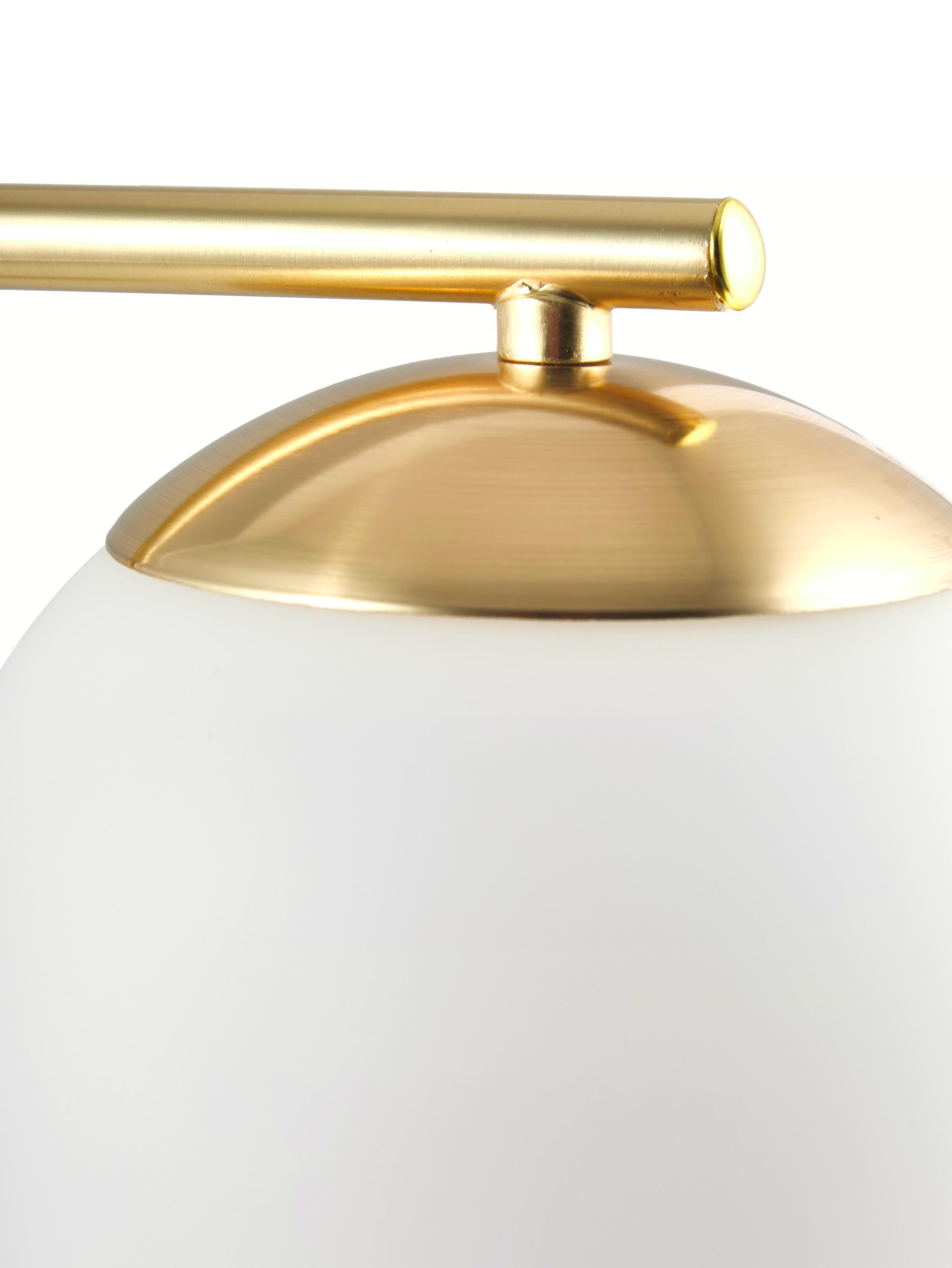 Tischlampe Grant mit Messingfuß, Lampenfuß: Messing, Lampenschirm: Opalglas, Messing, Weiß, 20 x 41 cm