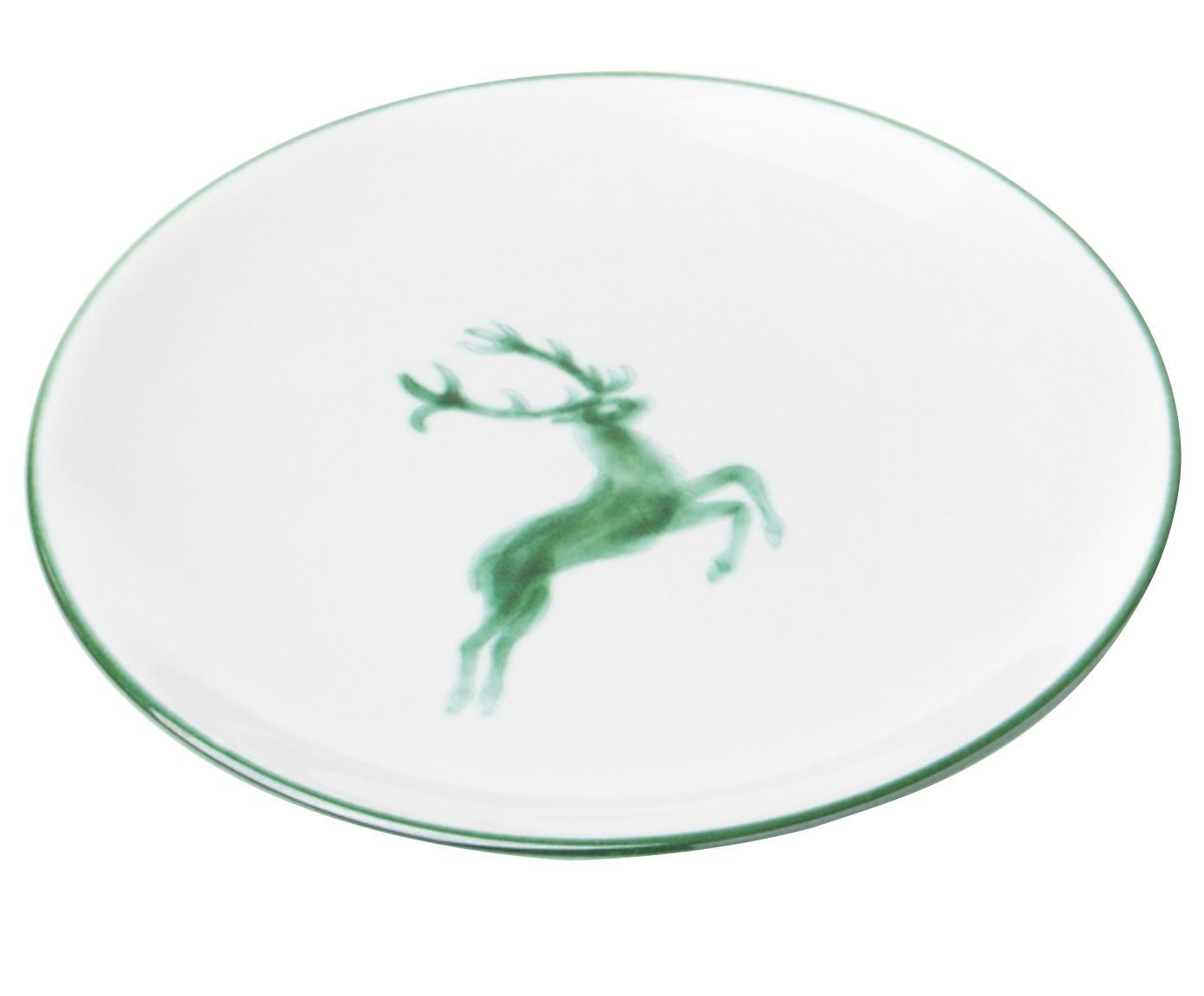 Piatto da dessert Classic Grüner Hirsch, Ceramica, Verde, bianco, Ø 20 cm