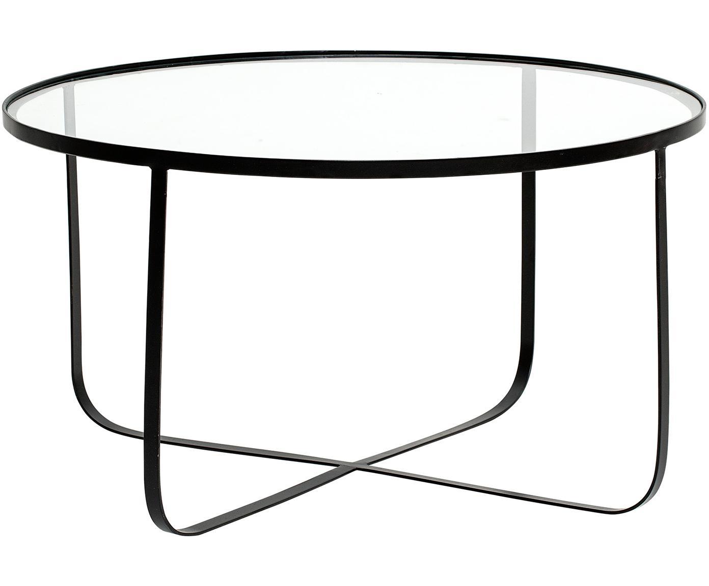 Metall-Couchtisch Harper mit Glasplatte, Gestell: Metall, pulverbeschichtet, Tischplatte: Glas, Schwarz, Ø 80 x H 43 cm