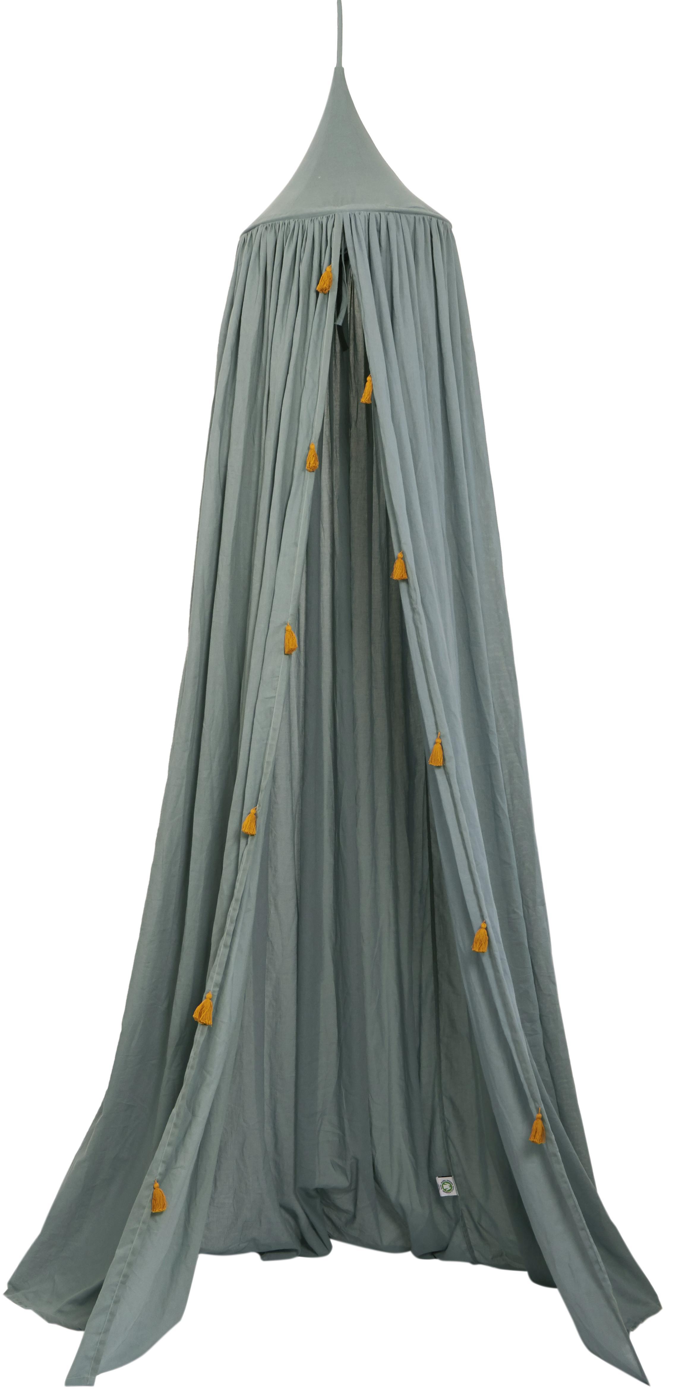 Klamboe Canopy, Biokatoen, Grijsgroen, goudkleurig, Ø 40 x H 200 cm