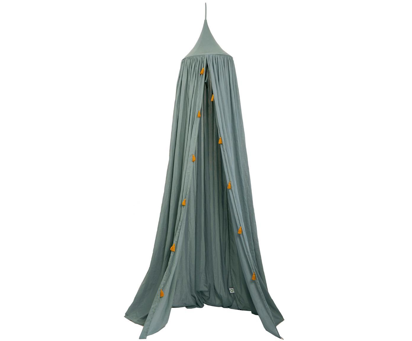 Betthimmel Canopy aus Bio-Baumwolle, Bio-Baumwolle, GOTS-zertifiziert, Graugrün, Goldfarben, Ø 40 x H 200 cm