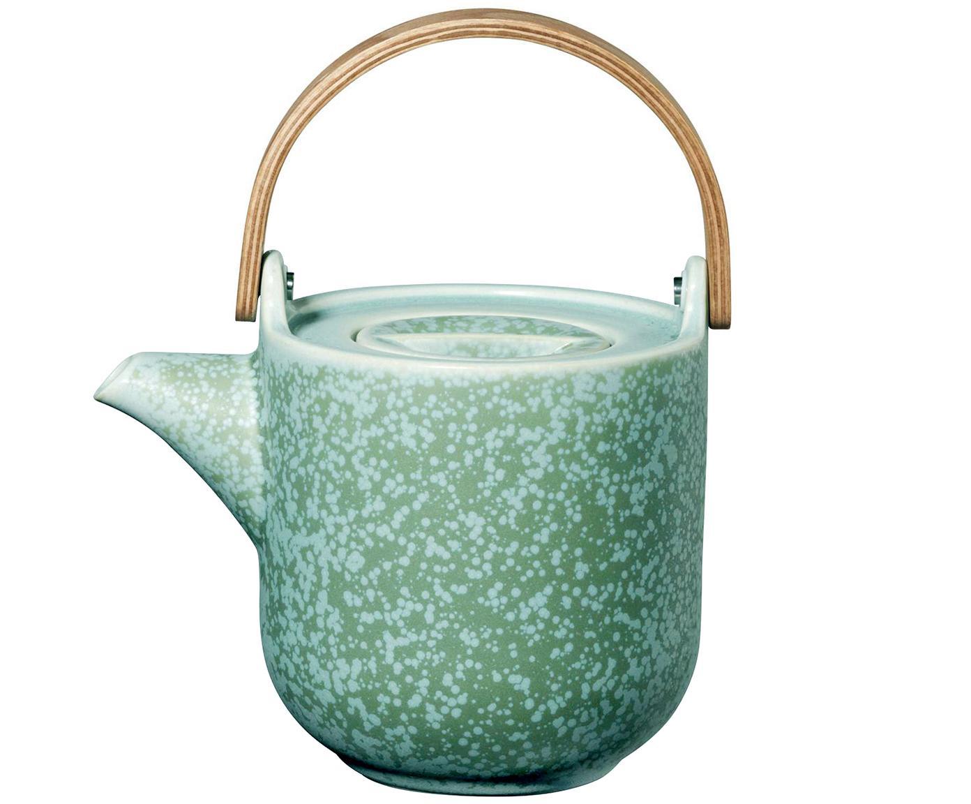 Kleine handgefertigte Teekanne Coppa in Mintgrün und mit Holzhenkel, Kanne: Porzellan, Griff: Holz,, Kanne: Mintgrüntöne Griff: Holz, 1 L